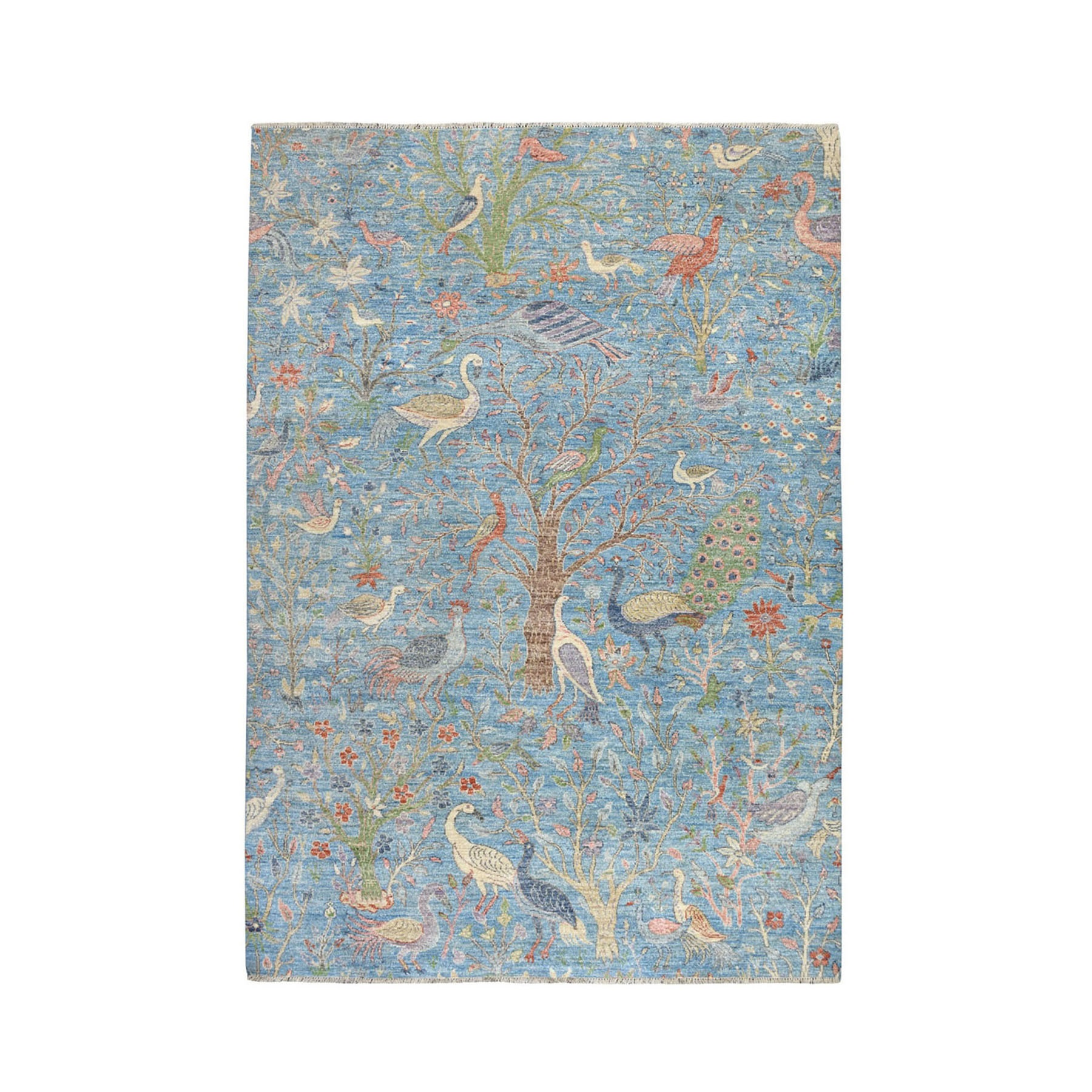 """4'1""""X6' Birds Of Paradise Peshawar Pure Wool Hand Knotted Oriental Rug moaebebe"""