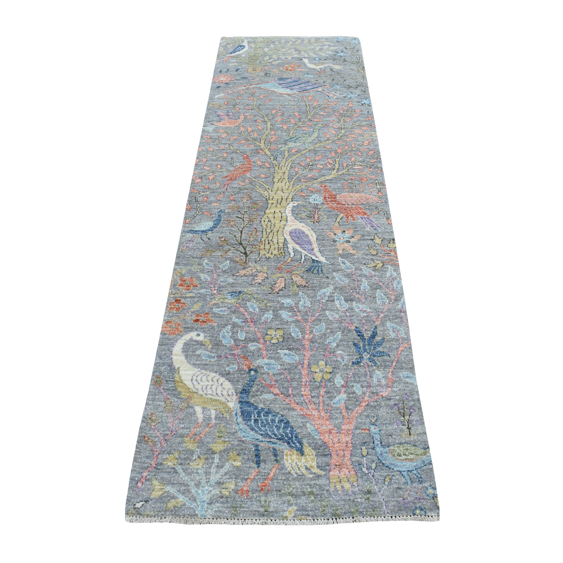 """2'7""""X8'4"""" Birds Of Paradise Peshawar Pure Wool Hand Knotted Runner Oriental Rug moaebeb6"""