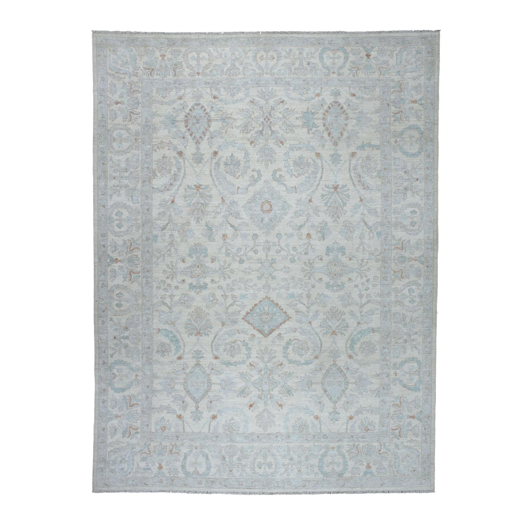"9'1""X11'10"" White Wash Peshawar Pure Wool Hand Knotted Oriental Rug moaebeb7"