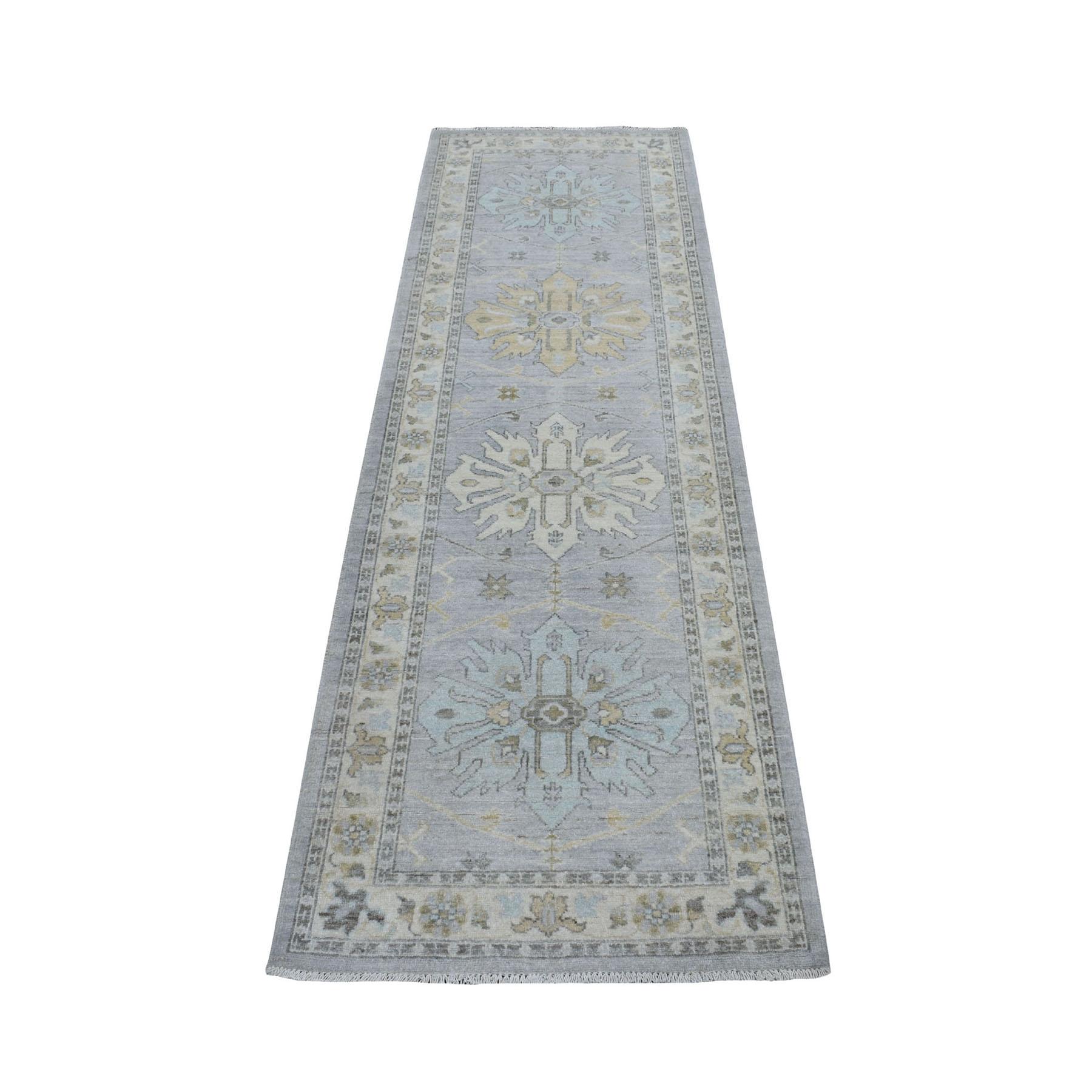 "2'7""X7'10"" White Wash Peshawar Pure Wool Hand Knotted Runner Oriental Rug moaebeb9"