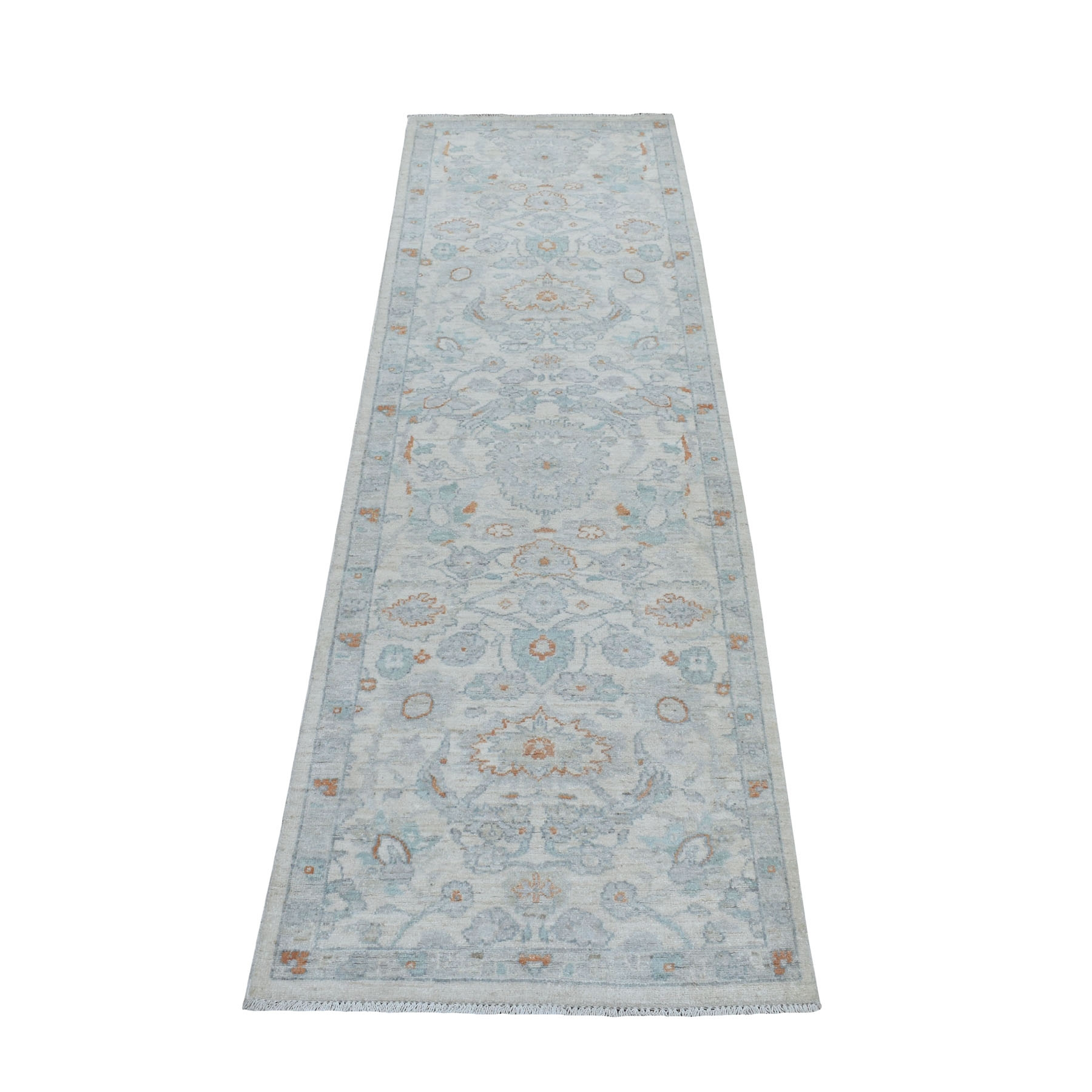 2-6 x8- White Wash Peshawar Pure Wool Hand Knotted Oriental Rug