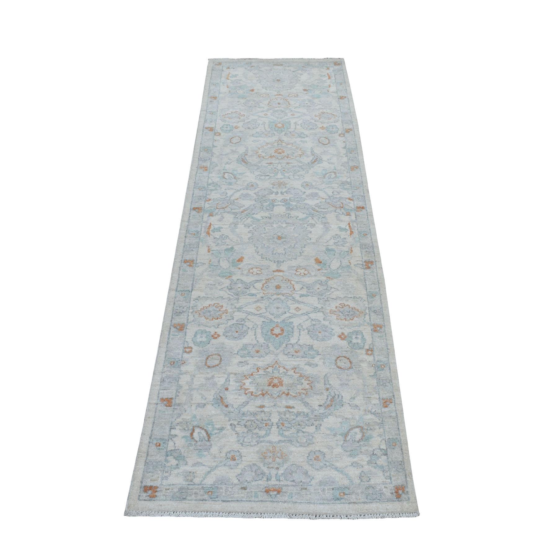"2'6""X8' White Wash Peshawar Pure Wool Hand Knotted Oriental Rug  moaebecb"