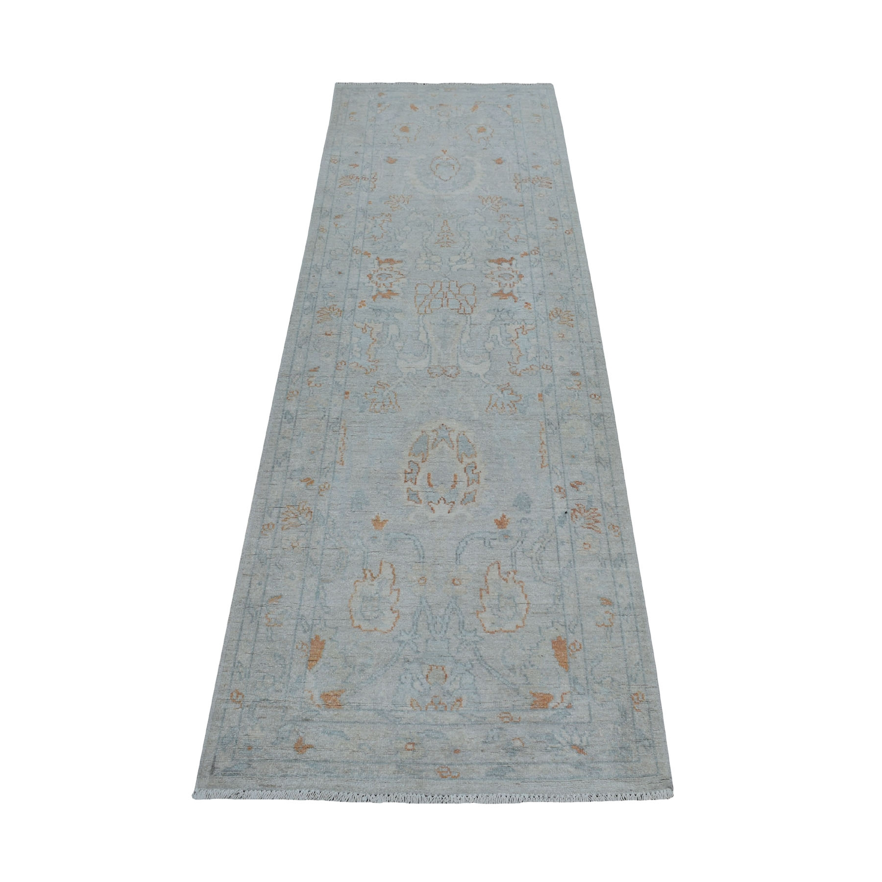 2-7 x8- White Wash Peshawar Pure Wool Hand Knotted Oriental Rug
