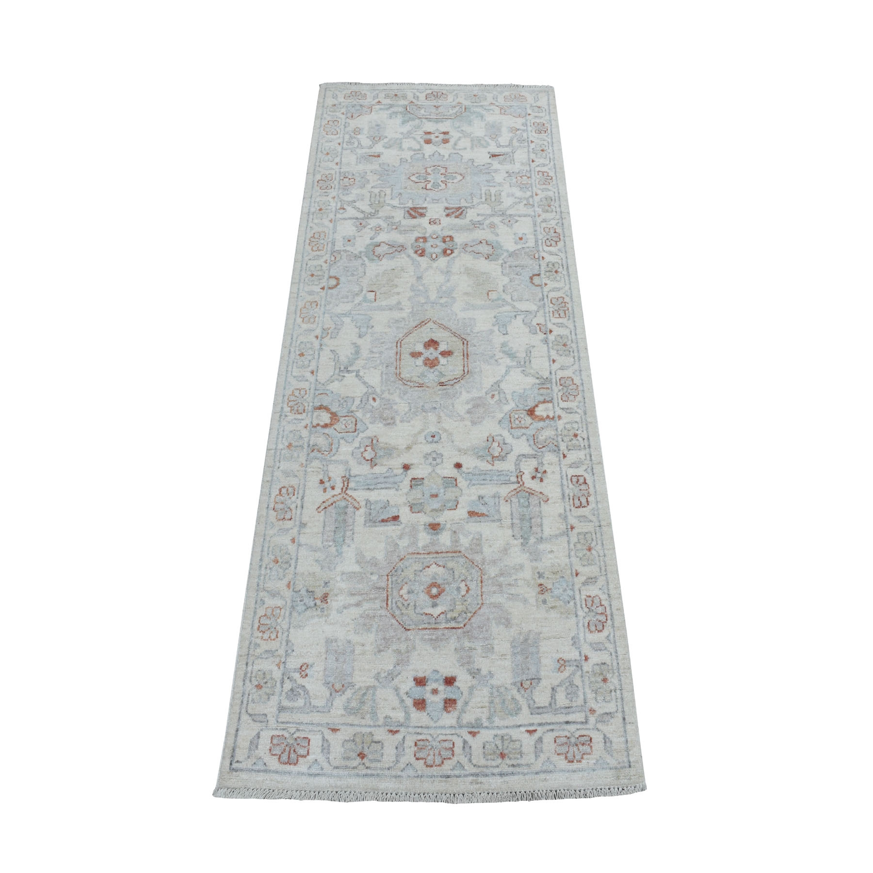 "2'7""X6'1"" White Wash Peshawar 100% Wool Hand Knotted Oriental Rug moaebecd"