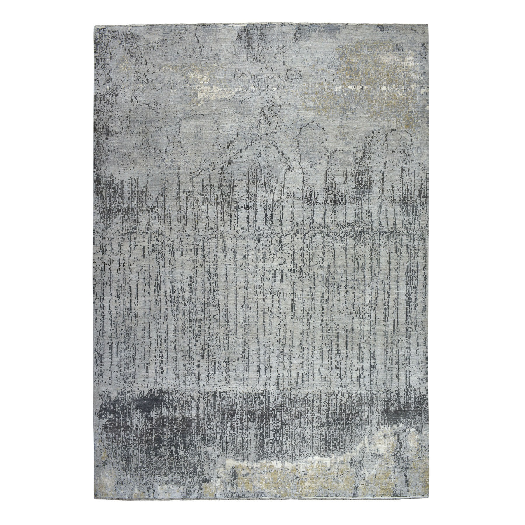 """10'2""""X13'10"""" Gray Pure Wool Abstract Design Hand Knotted Oriental Rug moaebec6"""