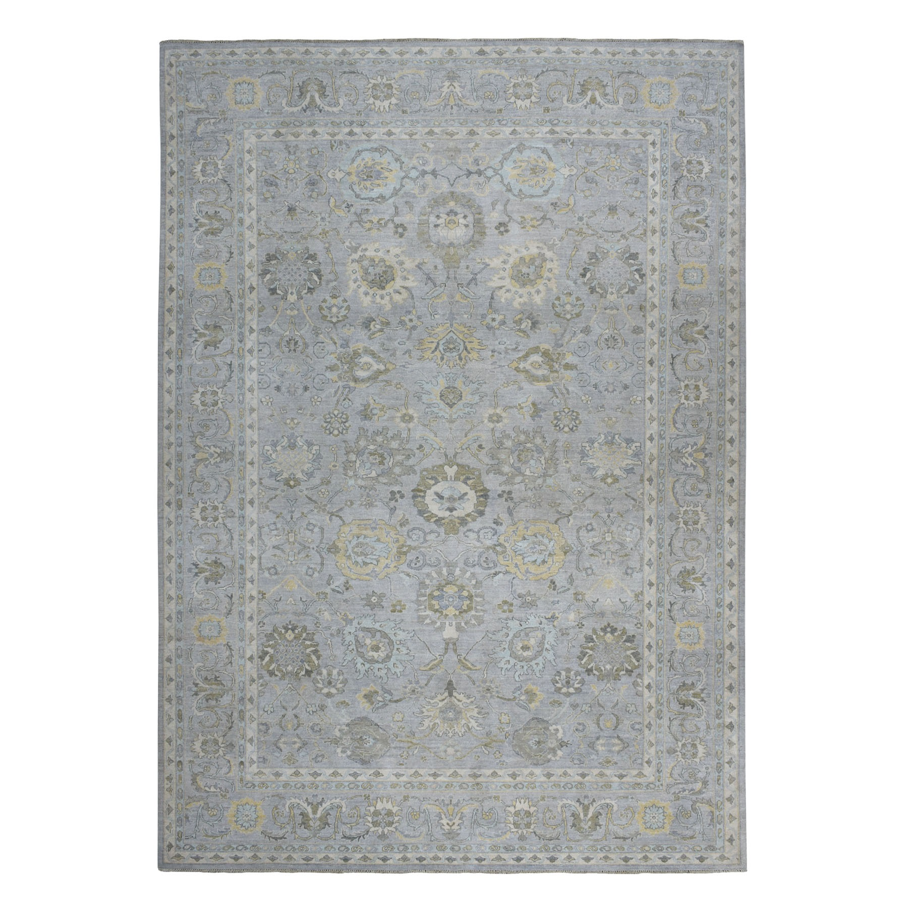 "11'10""x14'10"" Oversized White Wash Peshawar 100% Wool Hand Knotted Oriental Rug"
