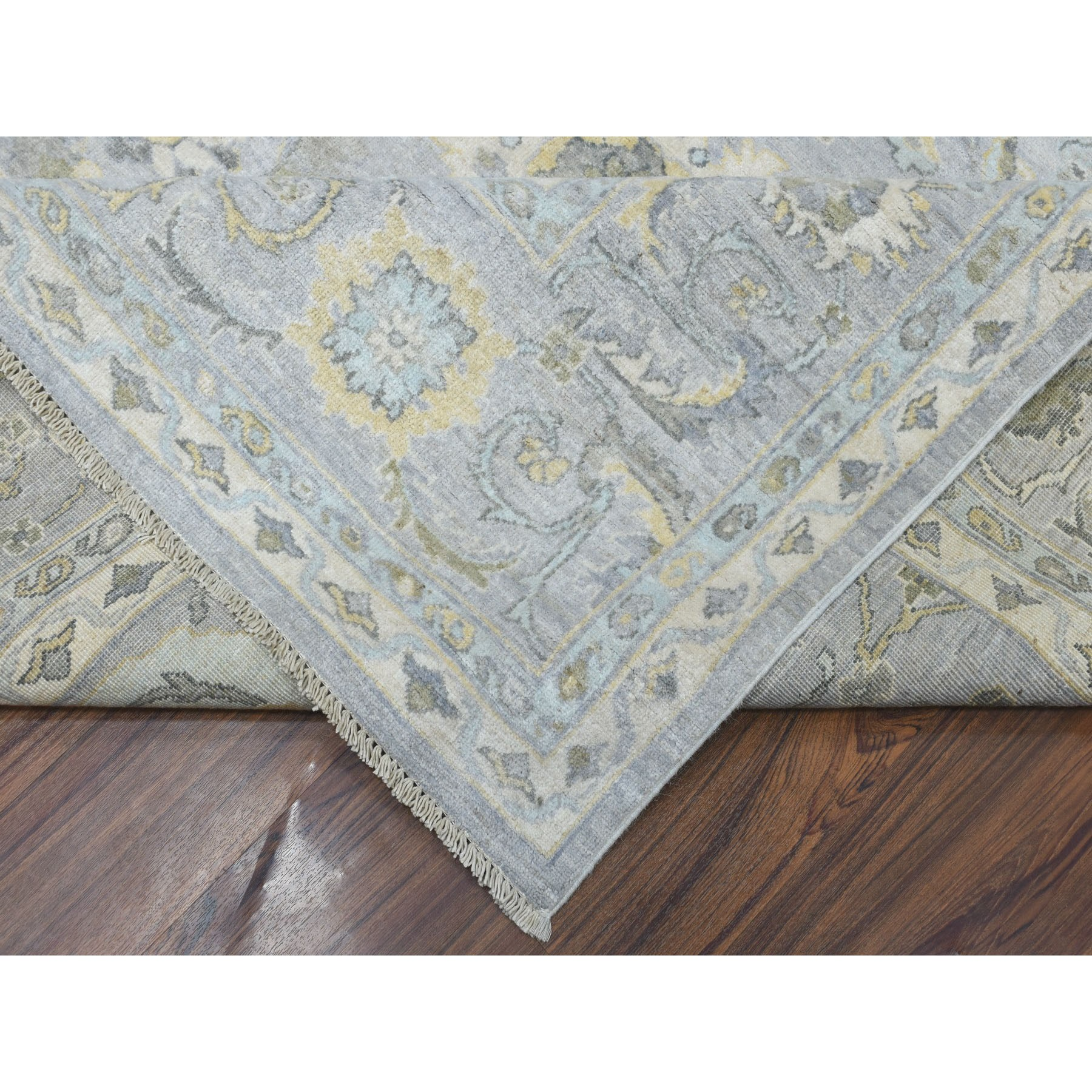"9'x12'4"" Oversized White Wash Peshawar 100% Wool Hand Knotted Oriental Rug"