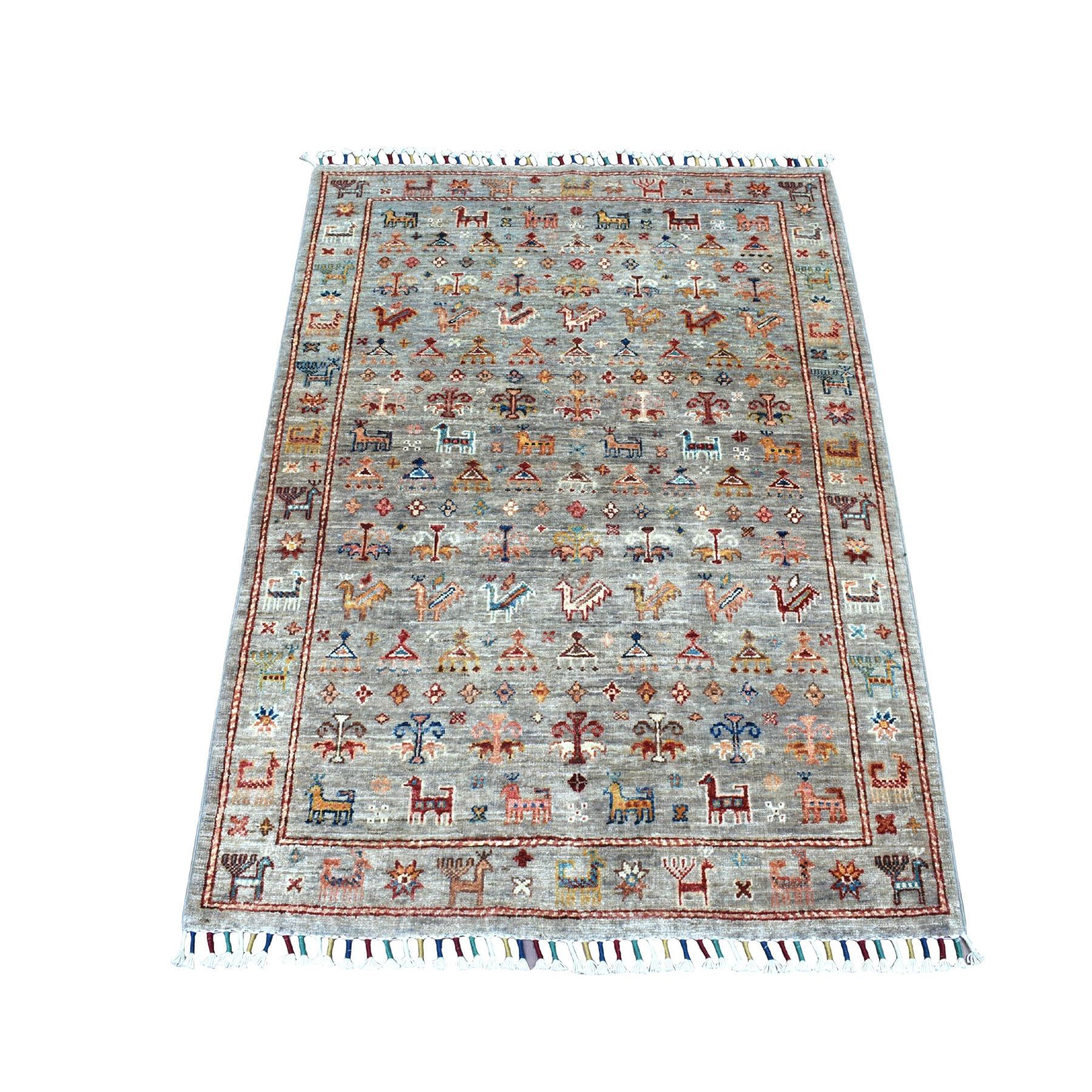 "3'2""X4'5"" Khorjin Design Taupe Super Kazak Pure Wool Hand Knotted Oriental Rug moaebede"