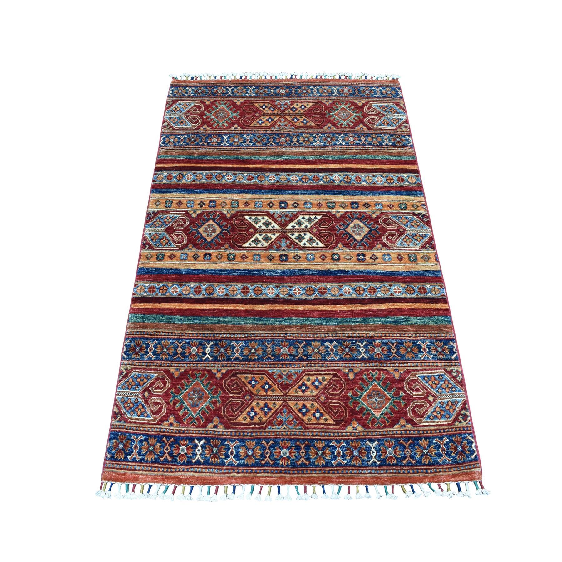 "3'2""X5'1"" Khorjin Design Colorful Super Kazak Pure Wool Hand Knotted Oriental Rug moaebed6"