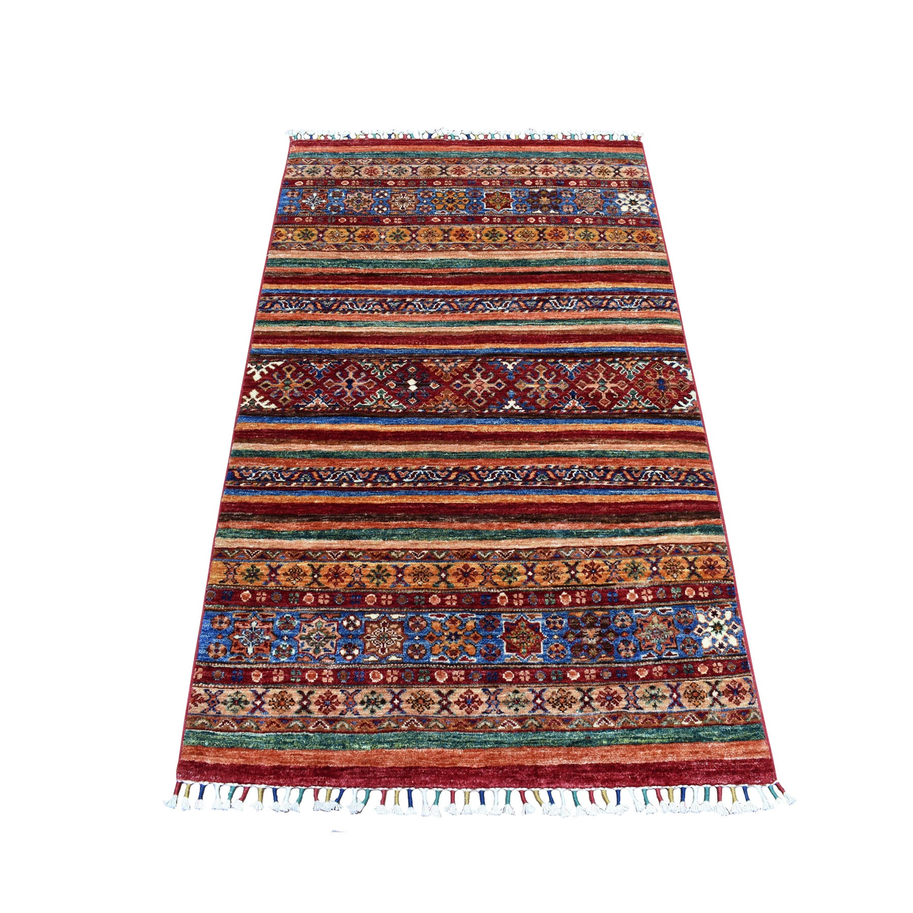 "3'2""X5'1"" Khorjin Design Colorful Super Kazak Pure Wool Hand Knotted Oriental Rug moaebed7"