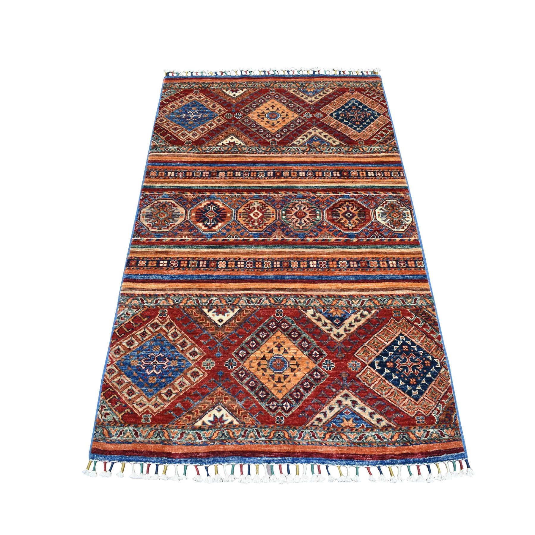 "3'2""X5' Khorjin Design Colorful Super Kazak Pure Wool Hand Knotted Oriental Rug moaebed8"
