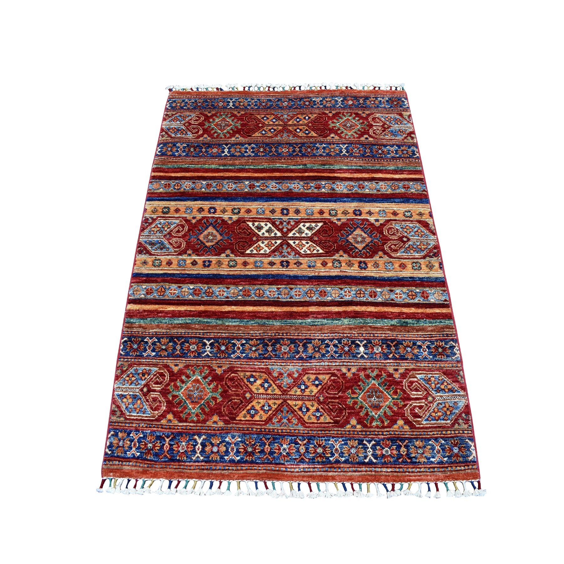 "3'2""X4'9"" Khorjin Design Colorful Super Kazak Pure Wool Hand Knotted Oriental Rug moaebee0"