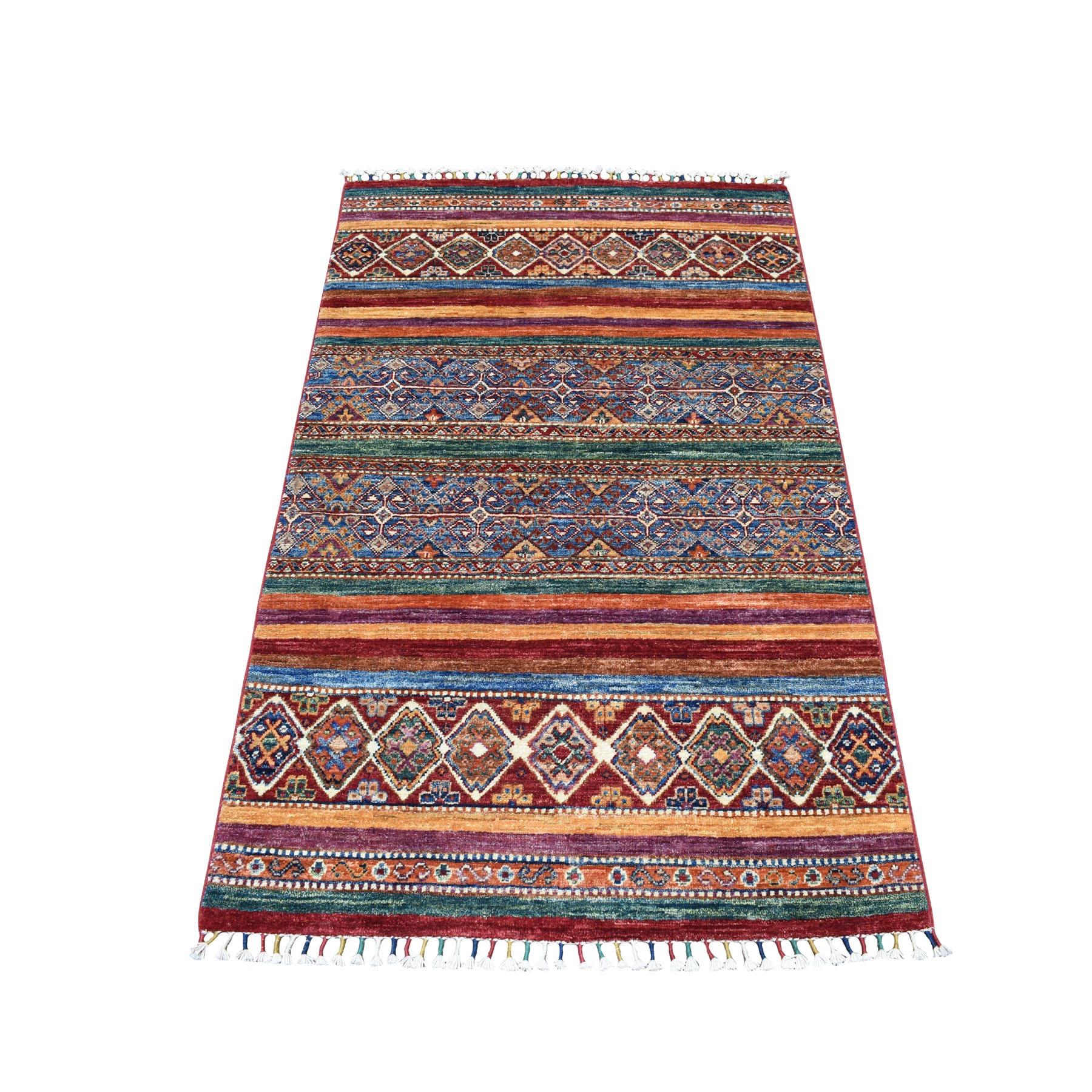 "3'3""X5' Khorjin Design Colorful Super Kazak Pure Wool Hand Knotted Oriental Rug moaebeea"