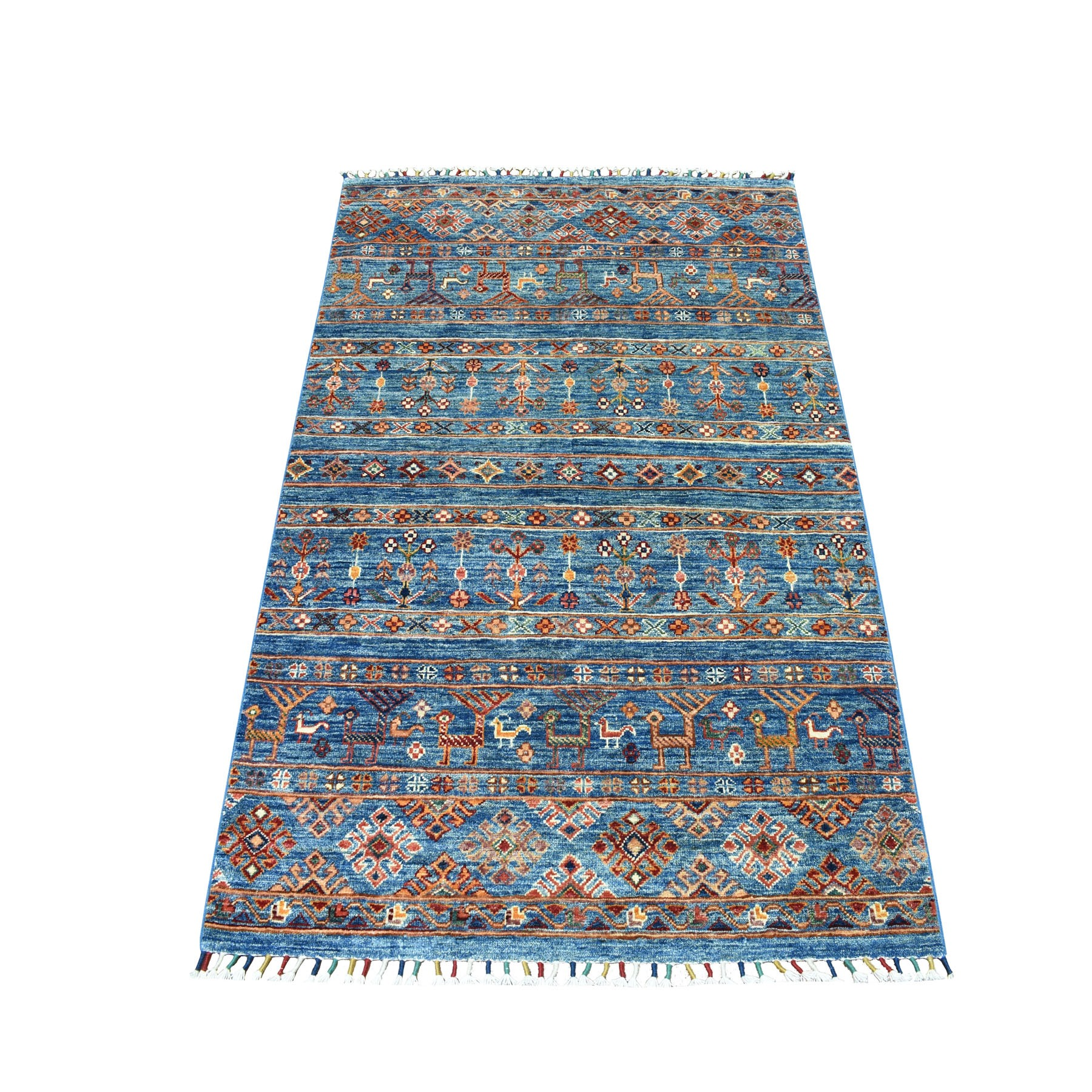 "3'4""X5'1"" Khorjin Design Blue Super Kazak Pure Wool Hand Knotted Oriental Rug moaebeeb"