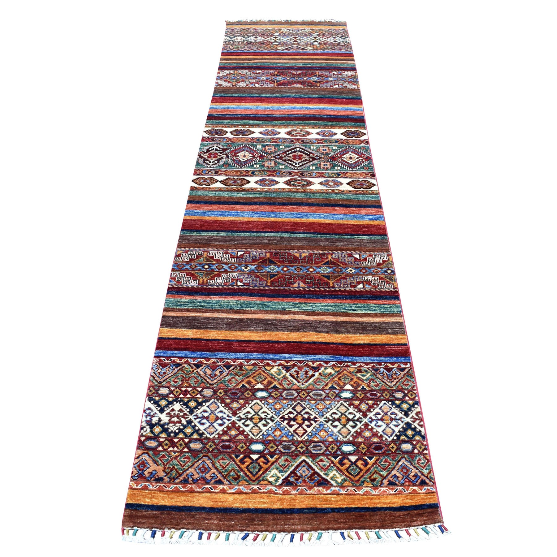 "2'6""X11'10"" Khorjin Design Colorful Runner Super Kazak Pure Wool Hand Knotted Oriental Rug moaebeed"