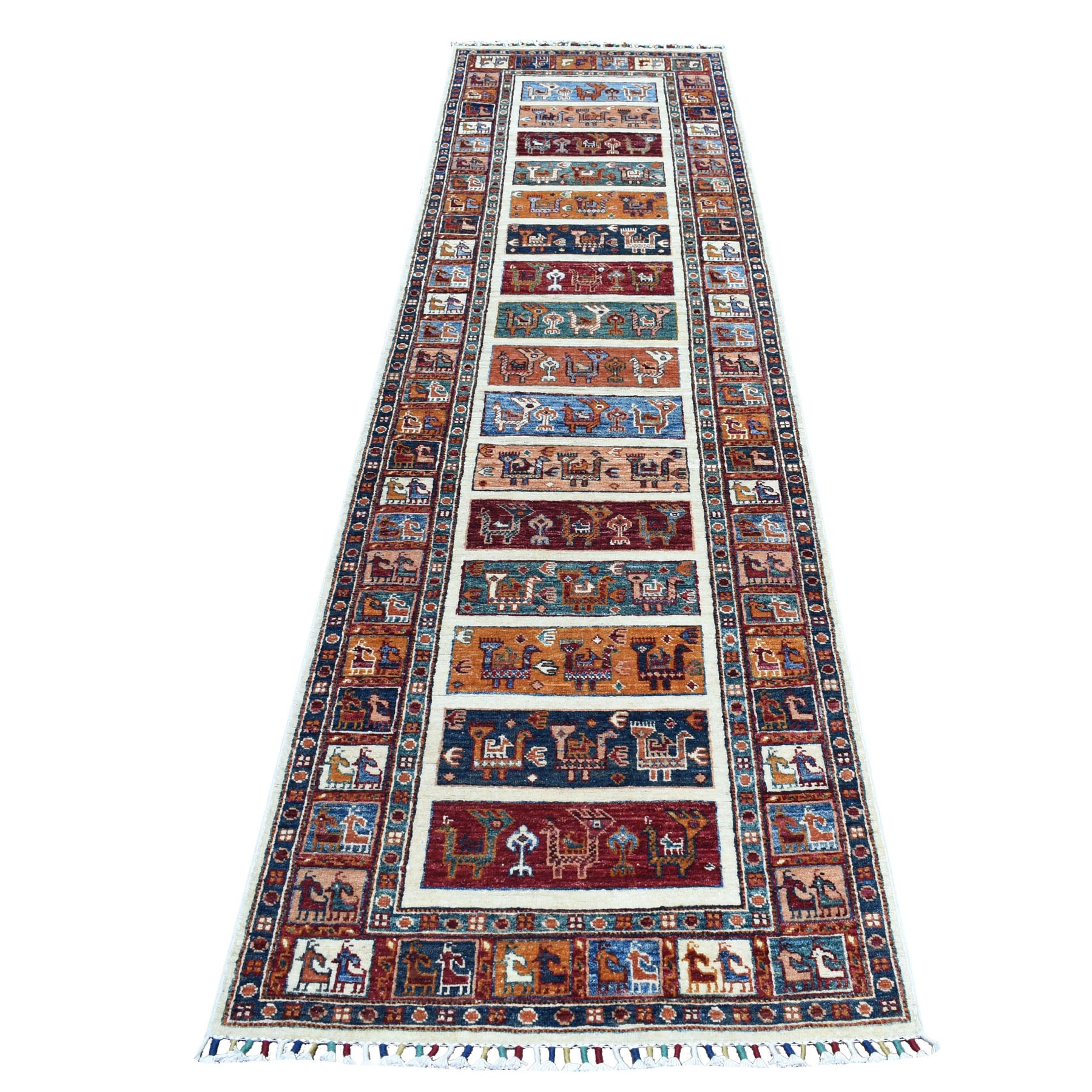 "2'8""x10'1"" Khorjin Design Colorful Runner Super Kazak Pure Wool Hand Knotted Oriental Rug"