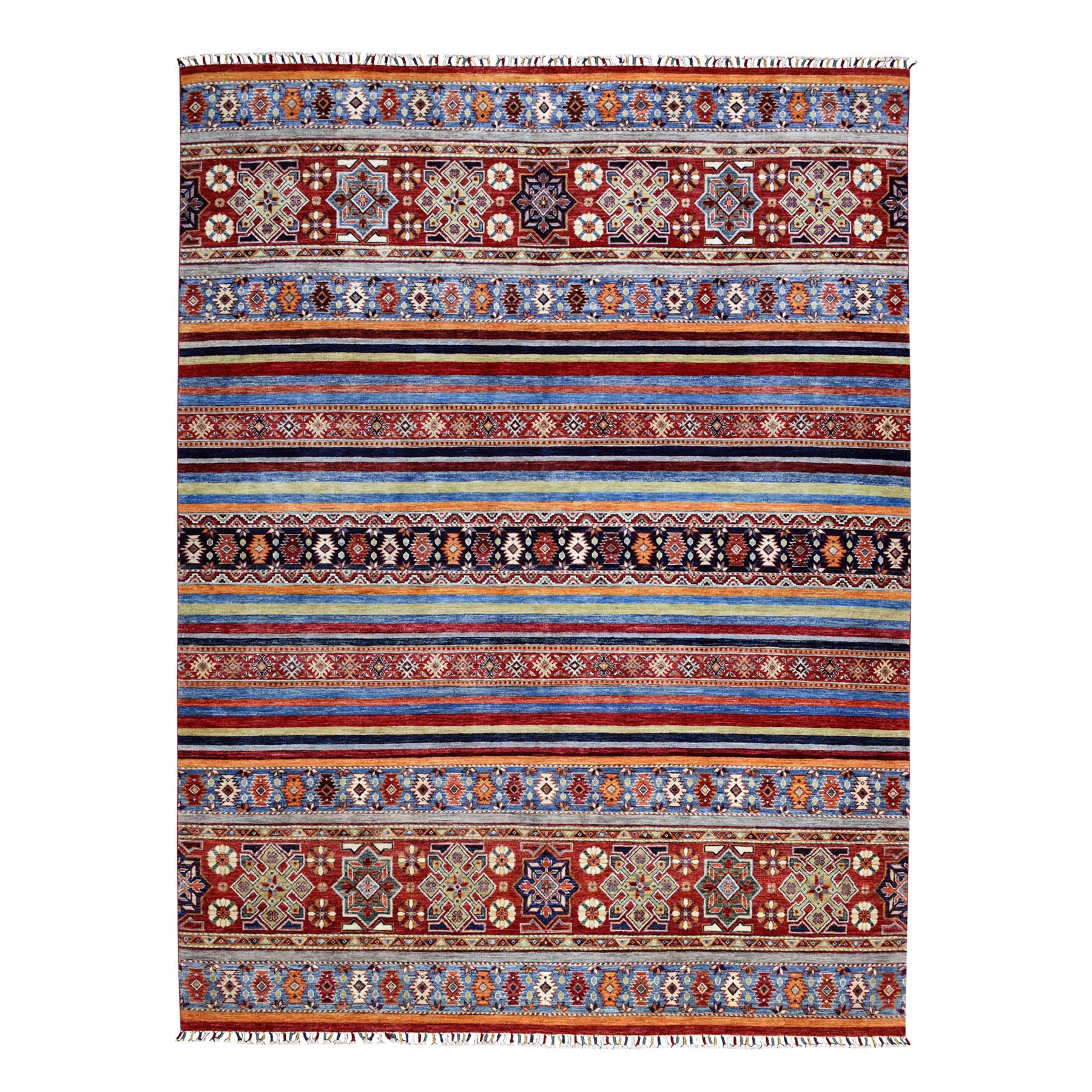 "8'1""X10'10"" Khorjin Design Colorful Super Kazak Pure Wool Hand Knotted Oriental Rug moaebee6"