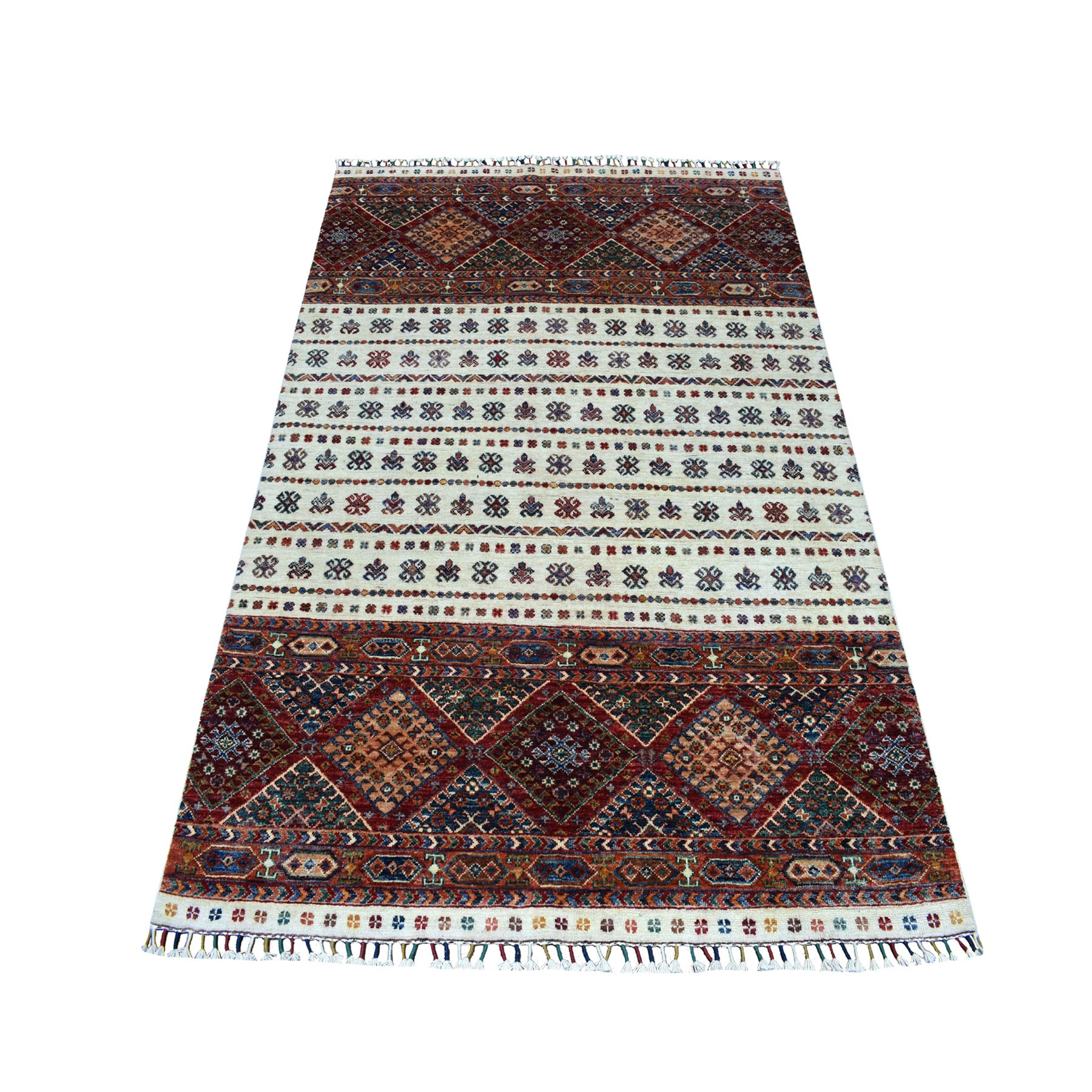 "4'10""x6'3"" Khorjin Design Colorful Super Kazak Pure Wool Hand Knotted Oriental Rug"