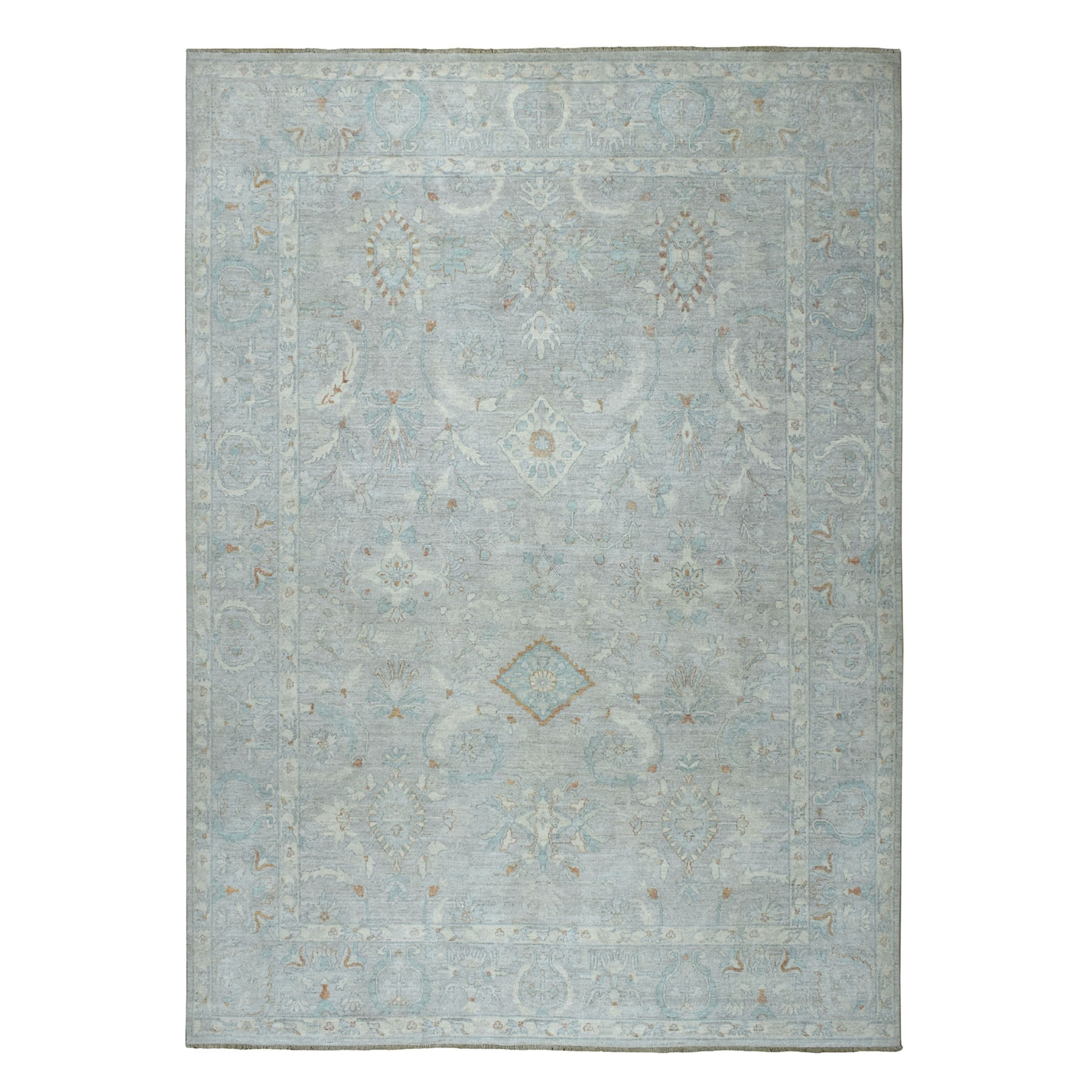 "8'9""x11' White Wash Peshawar Pure Wool Hand Knotted Oriental Rug 52560"