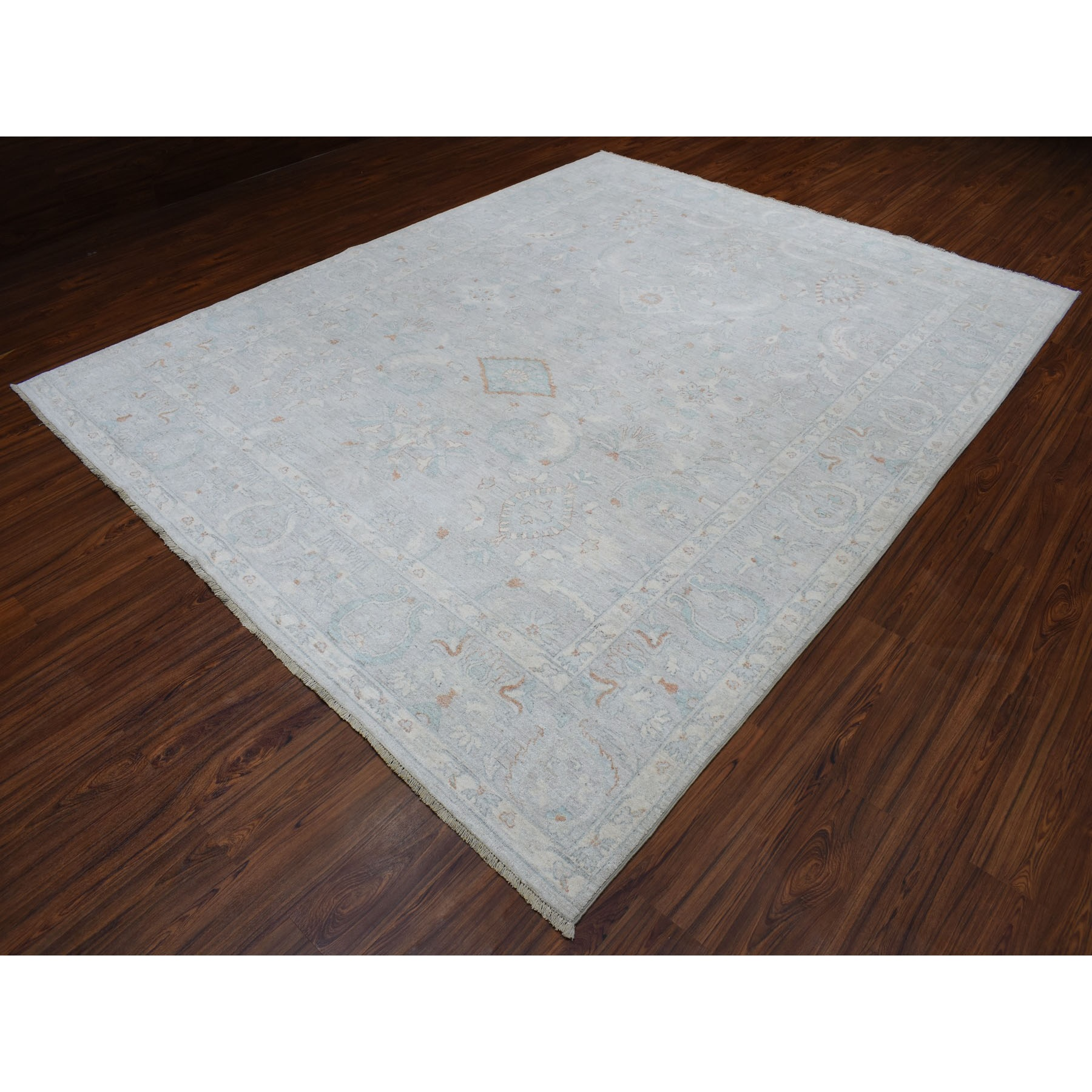 8-9 x11- White Wash Peshawar Pure Wool Hand Knotted Oriental Rug