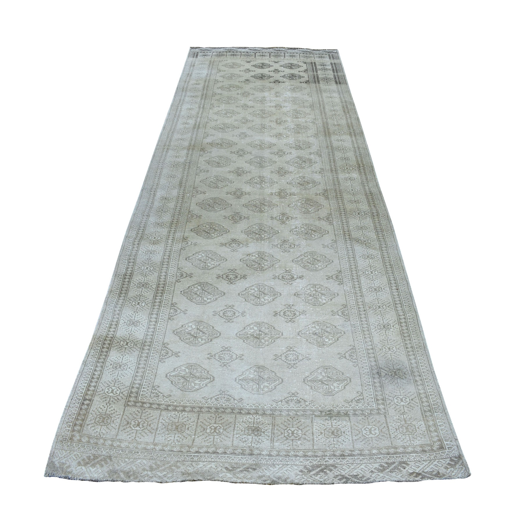 "4'9""X12'3"" Beige Vintage Persian Tabriz Worn Pile Wide Runner Hand Knotted Oriental Rug moaebe6a"