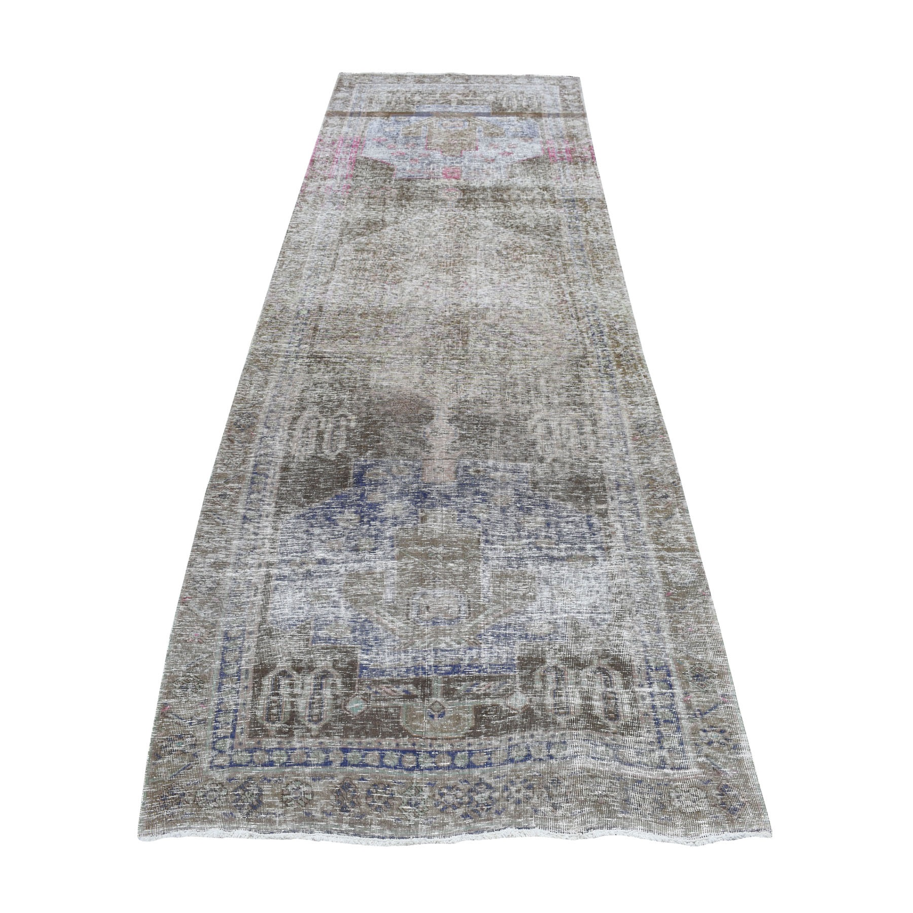 "4'6""X12'5""  Gray Vintage Persian Tabriz Worn Pile Wide Runner Hand Knotted Oriental Rug moaebe6b"