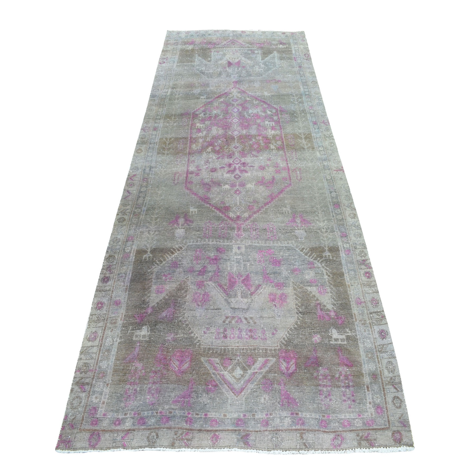 "5'X12'3"" Pink Vintage Persian Tabriz Worn Pile Wide Runner Hand Knotted Oriental Rug moaebe6c"
