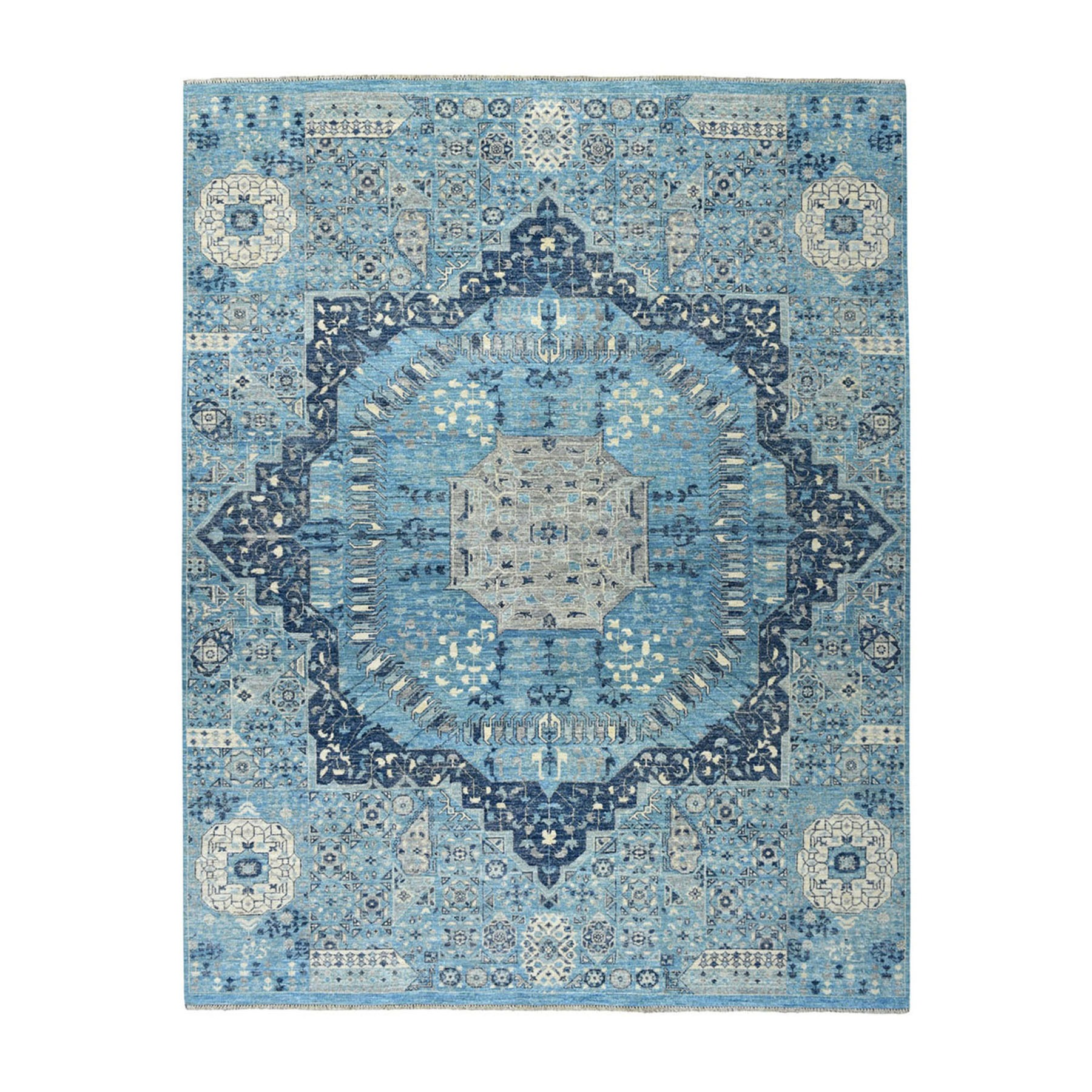 "8'x10'2"" Blue Peshawar With Mamluk Design Pure Wool Hand Knotted Oriental Rug"