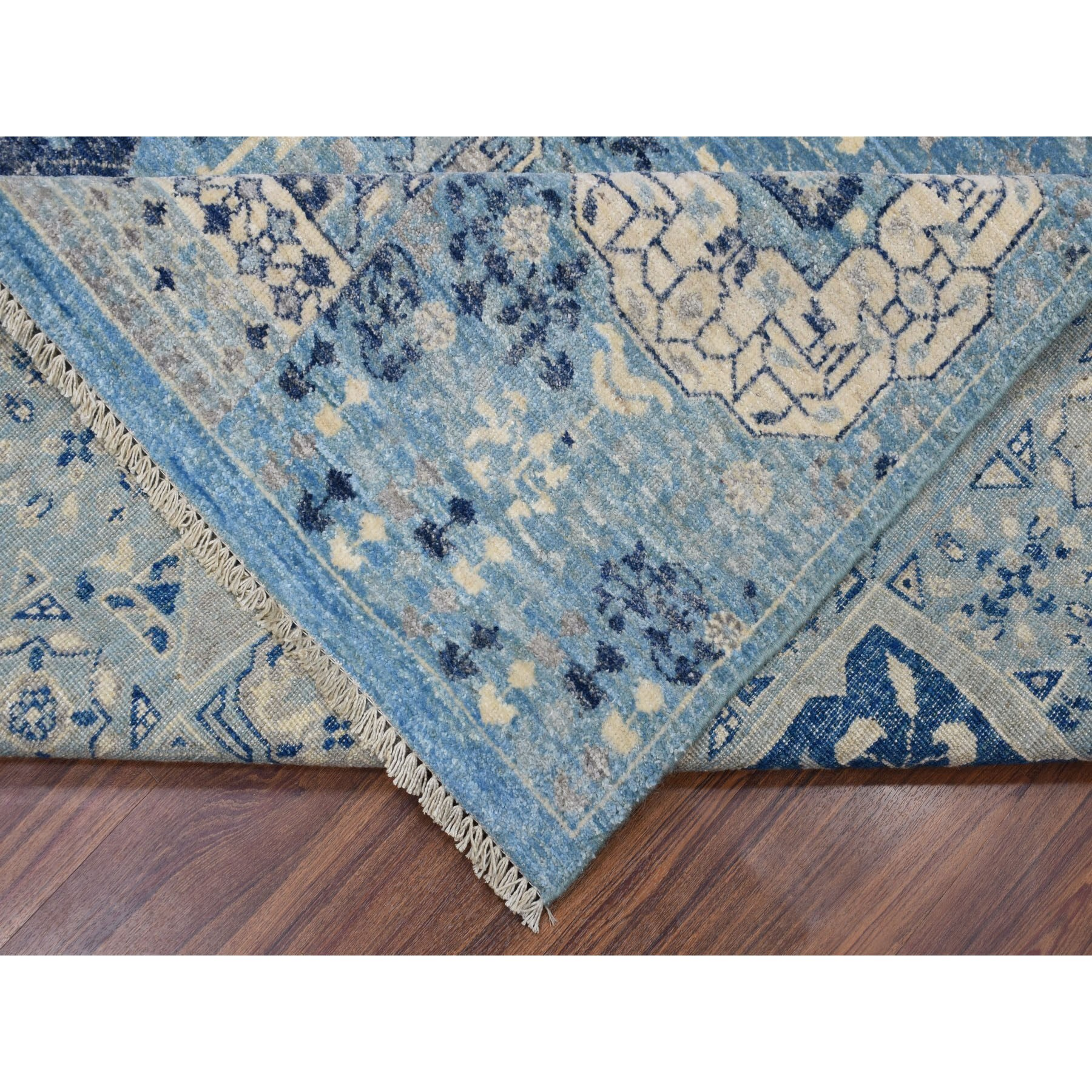 """8'x10'2"""" Blue Peshawar With Mamluk Design Pure Wool Hand Knotted Oriental Rug"""