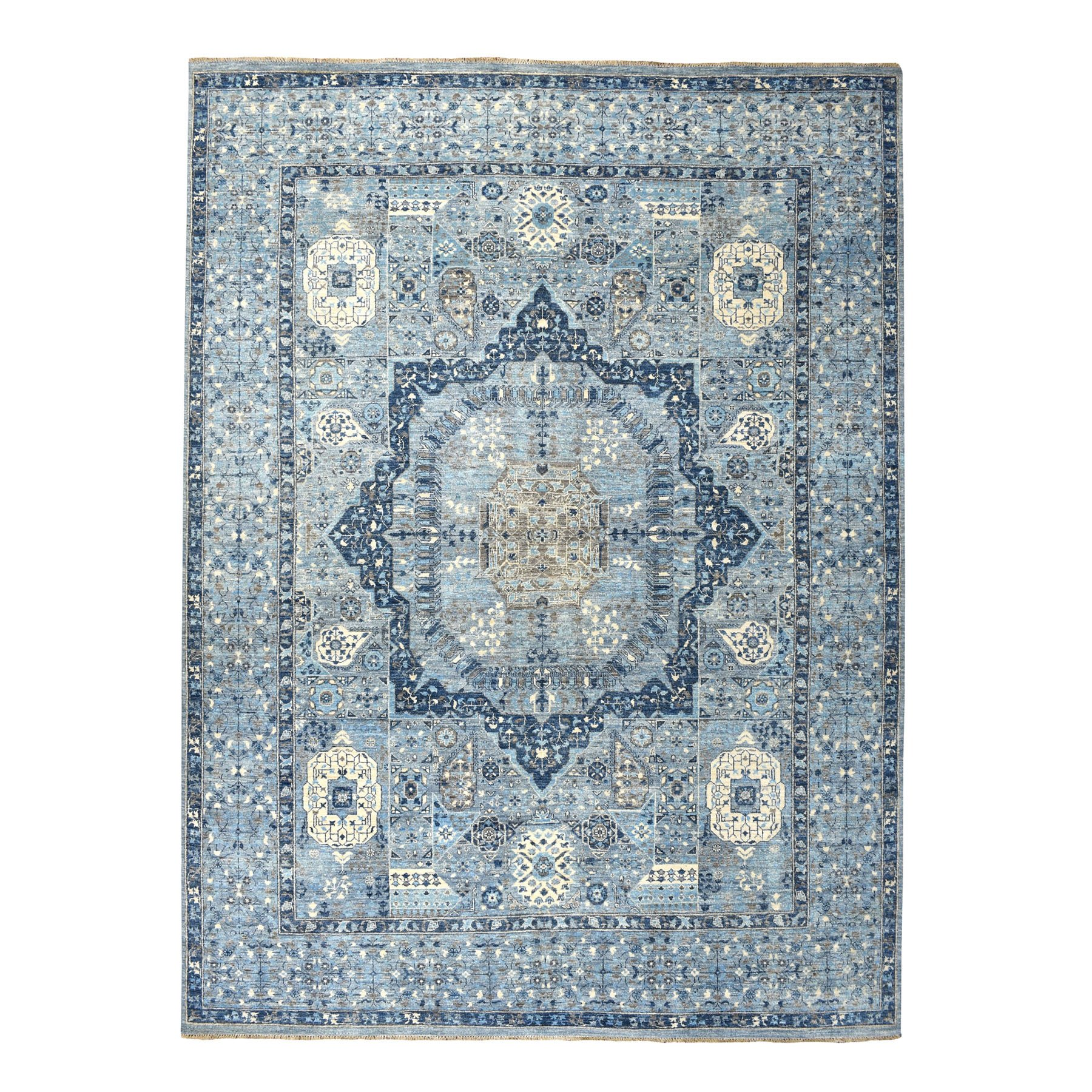 "9'X11'10"" Blue Peshawar With Mamluk Design Pure Wool Hand Knotted Oriental Rug moaebe6e"