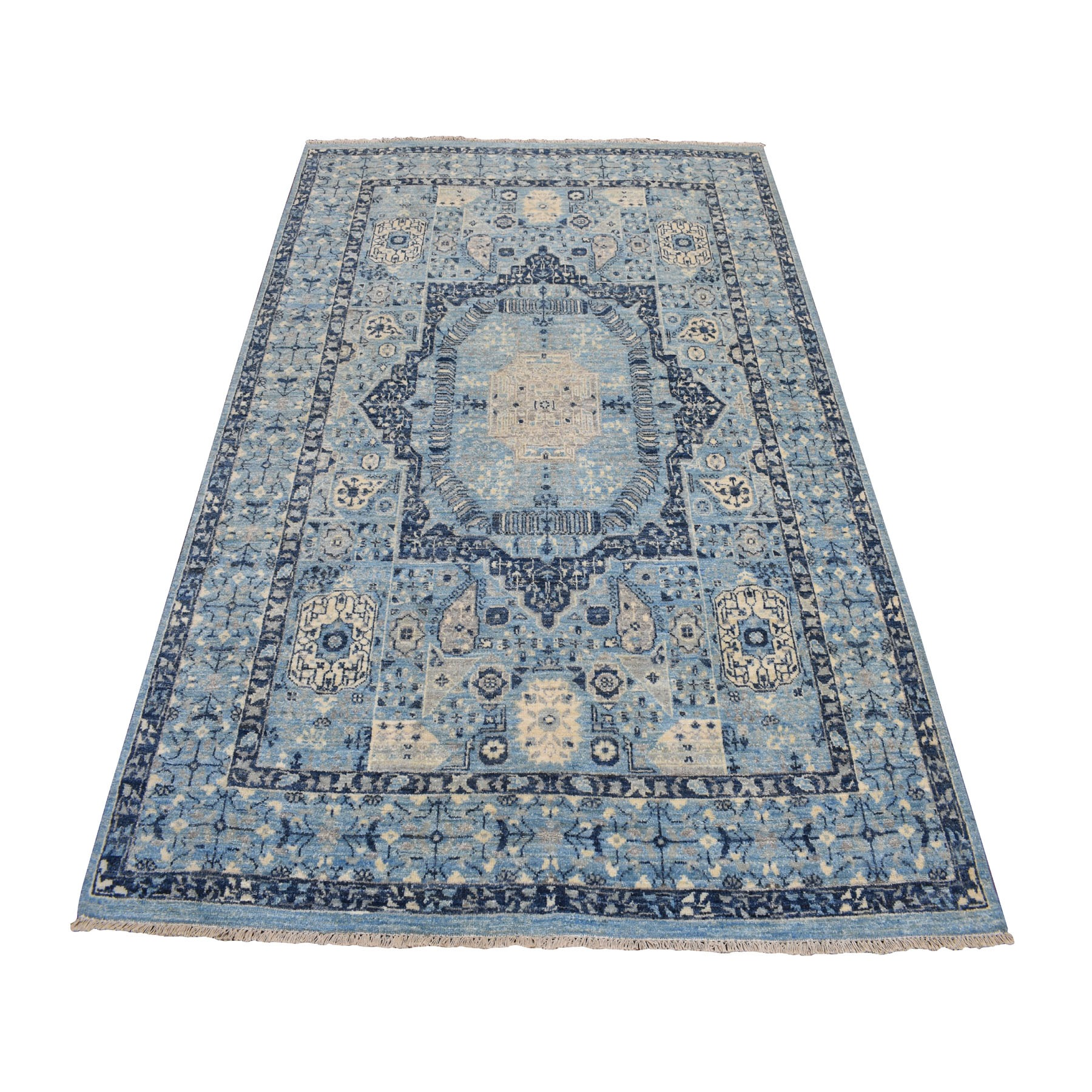 """5'2""""x7'1"""" Blue Peshawar With Mamluk Design Pure Wool Hand Knotted Oriental Rug"""