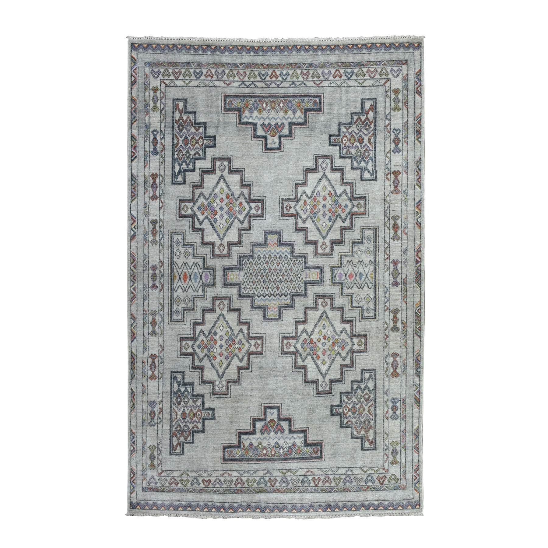 """6'X8'10"""" Peshawar With Berber Motifs Inspired Pure Wool Hand Knotted Oriental Rug moaebe67"""