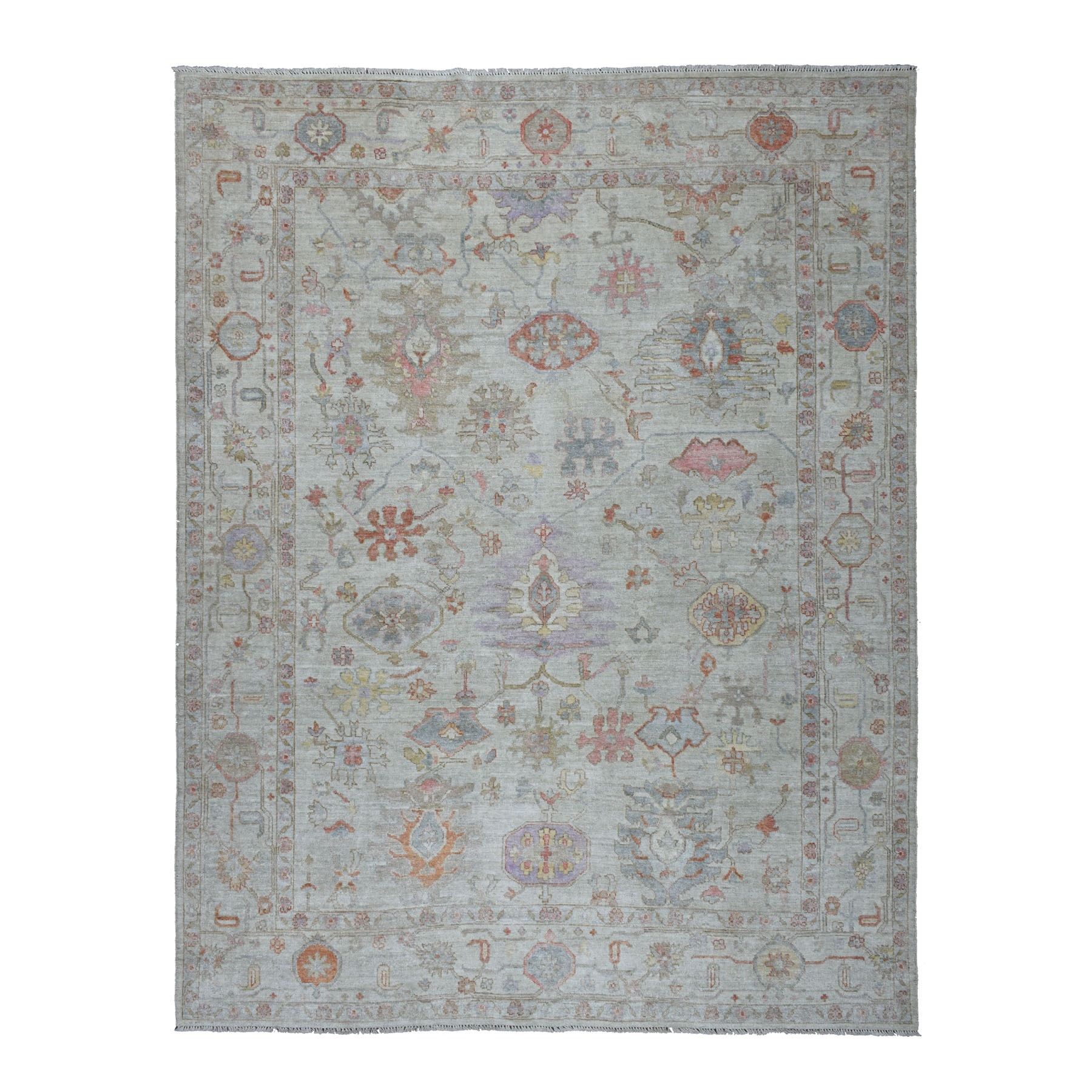 """9'1""""X11'10"""" Gray Angora Oushak Pure Wool Hand Knotted Oriental Rug moaebe7a"""