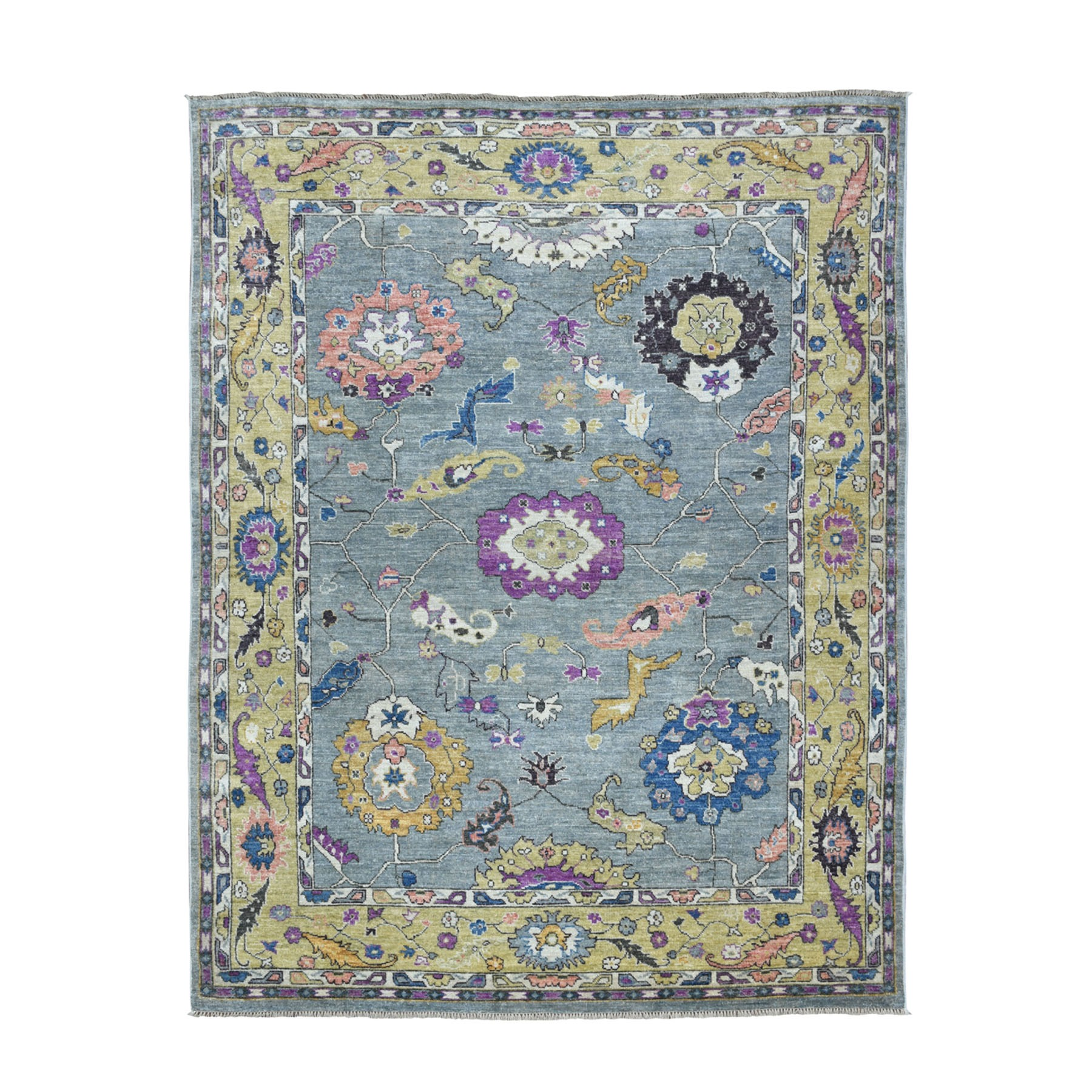 """7'7""""X9'10"""" Gray Angora Oushak Pure Wool Hand Knotted Oriental Rug moaebe7c"""