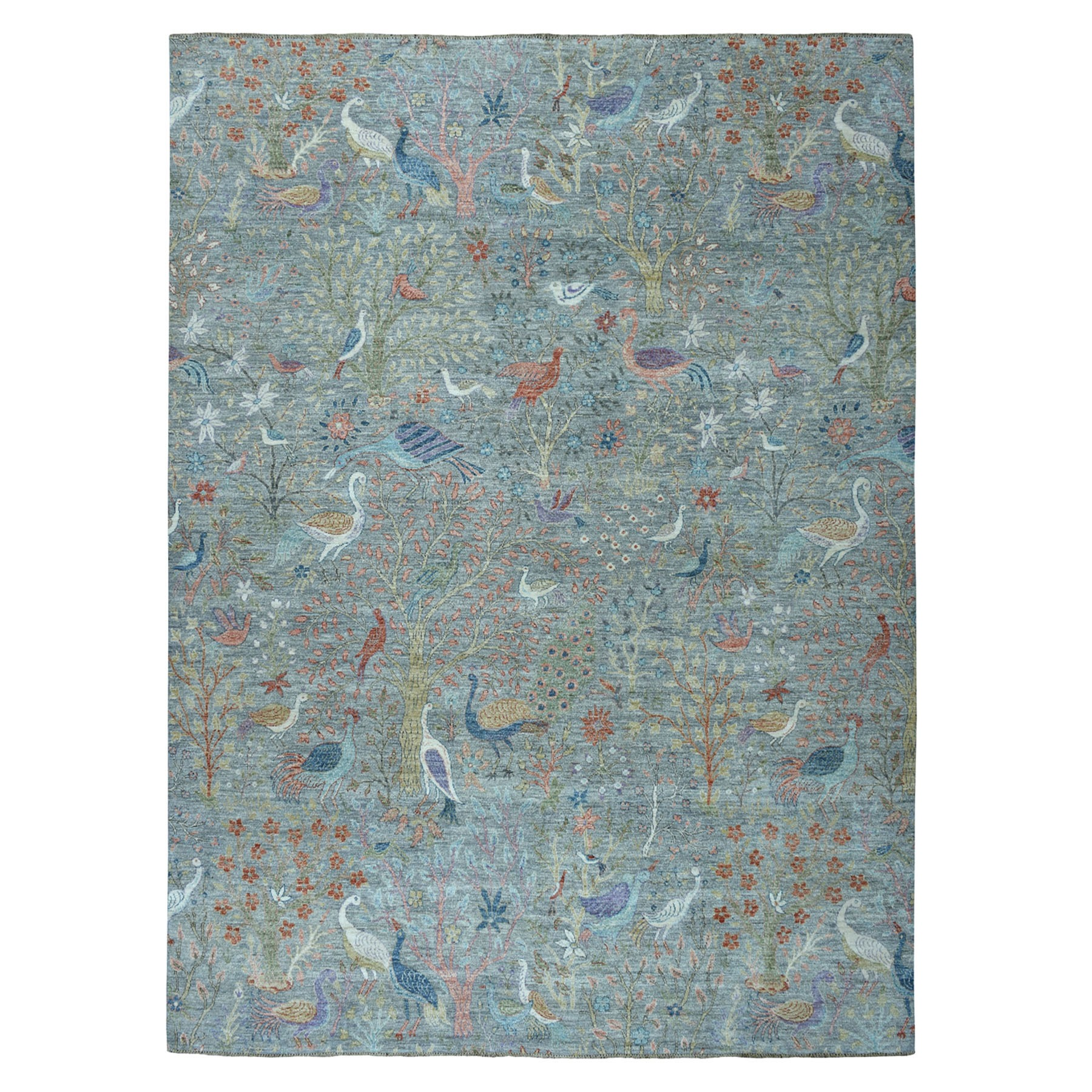 9'X12' Gray Birds Of Paradise Peshawar Pure Wool Hand Knotted Oriental Rug moaebe78
