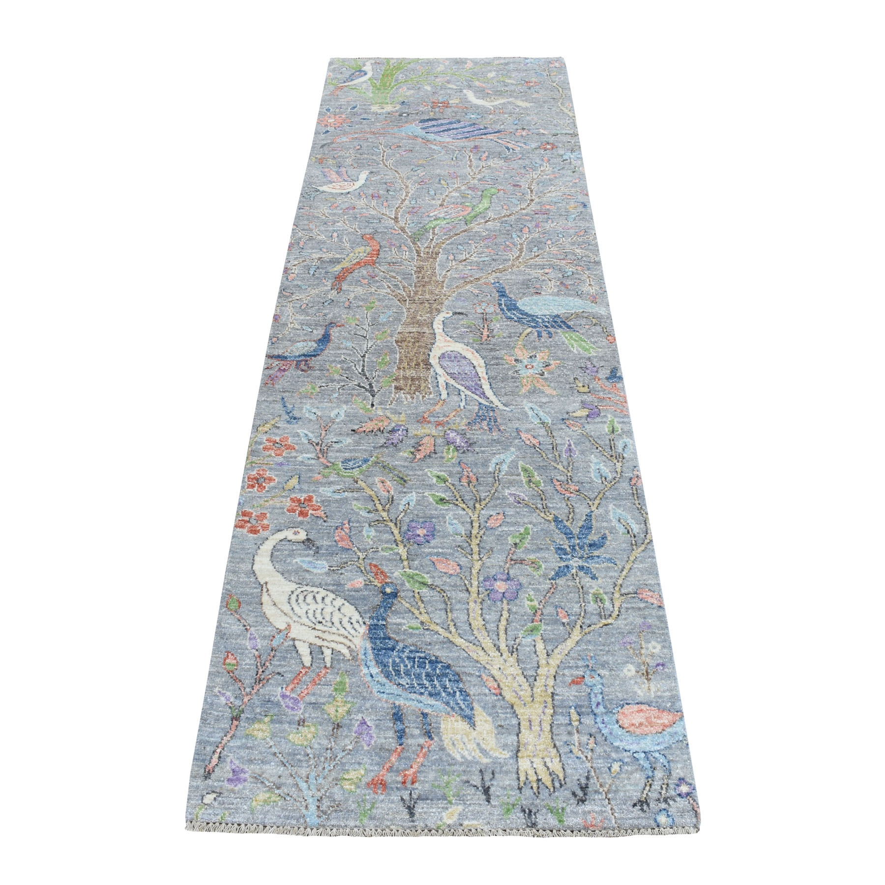 """2'6""""X8'3"""" Birds Of Paradise Peshawar Pure Wool Hand Knotted Runner Oriental Rug moaebe8a"""