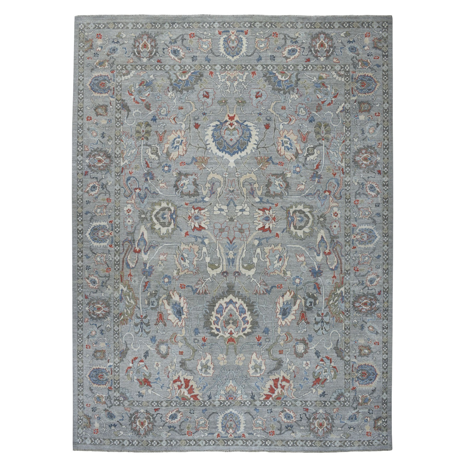 """9'X12'2"""" Gray Peshawar With Pop Of Color Hand Knotted Oriental Rug moaebe8d"""