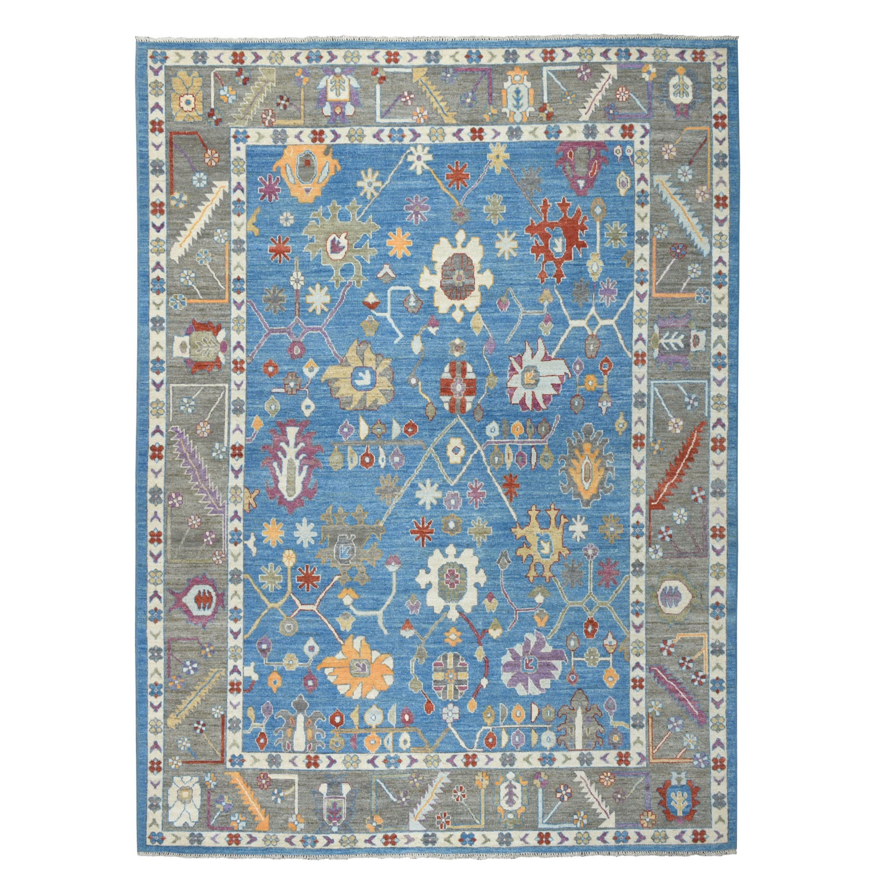 """9'X11'8"""" Blue Angora Oushak Pure Wool Hand Knotted Oriental Rug moaebe86"""