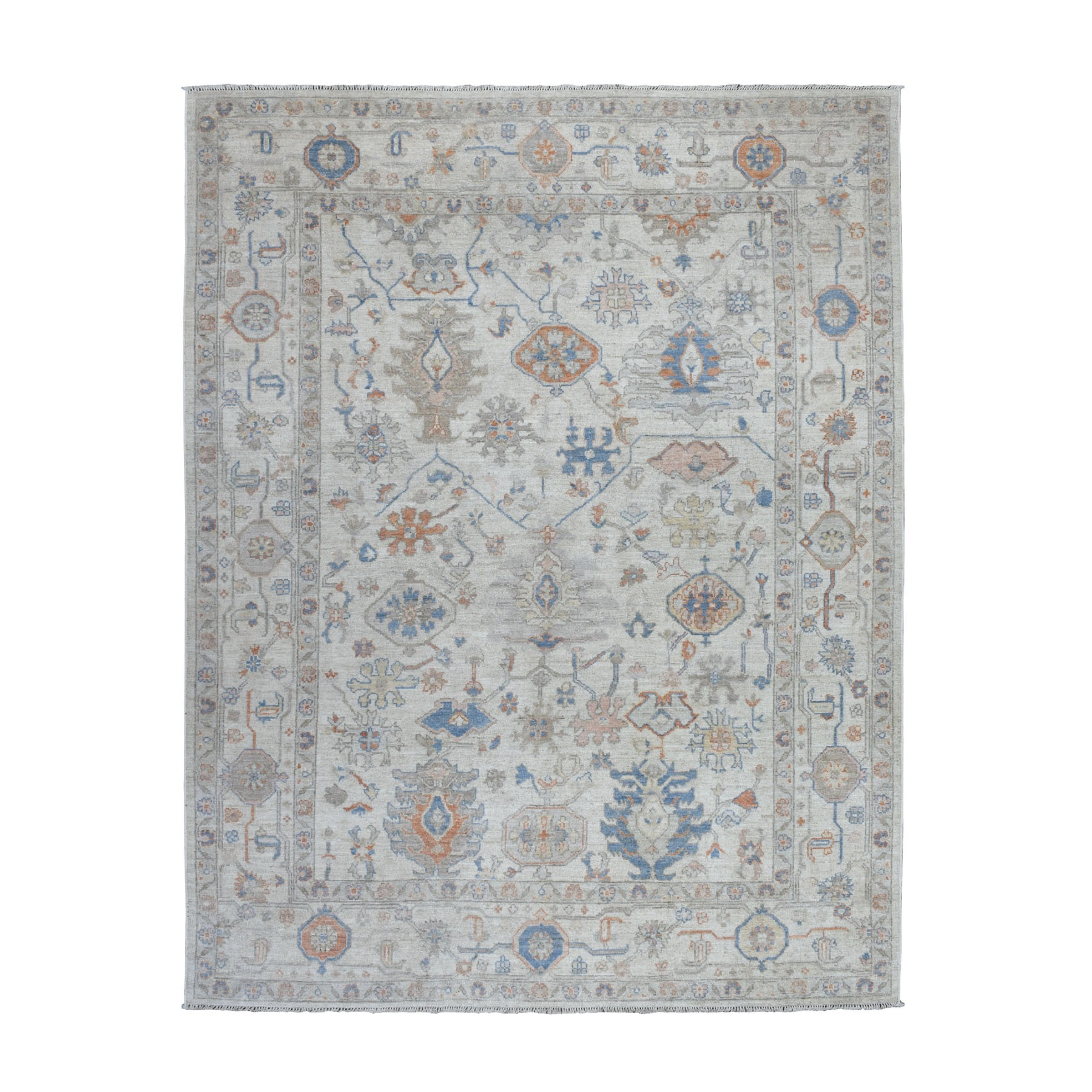 """8'X10'7"""" Gray Angora Oushak Pure Wool Hand Knotted Oriental Rug moaebe88"""