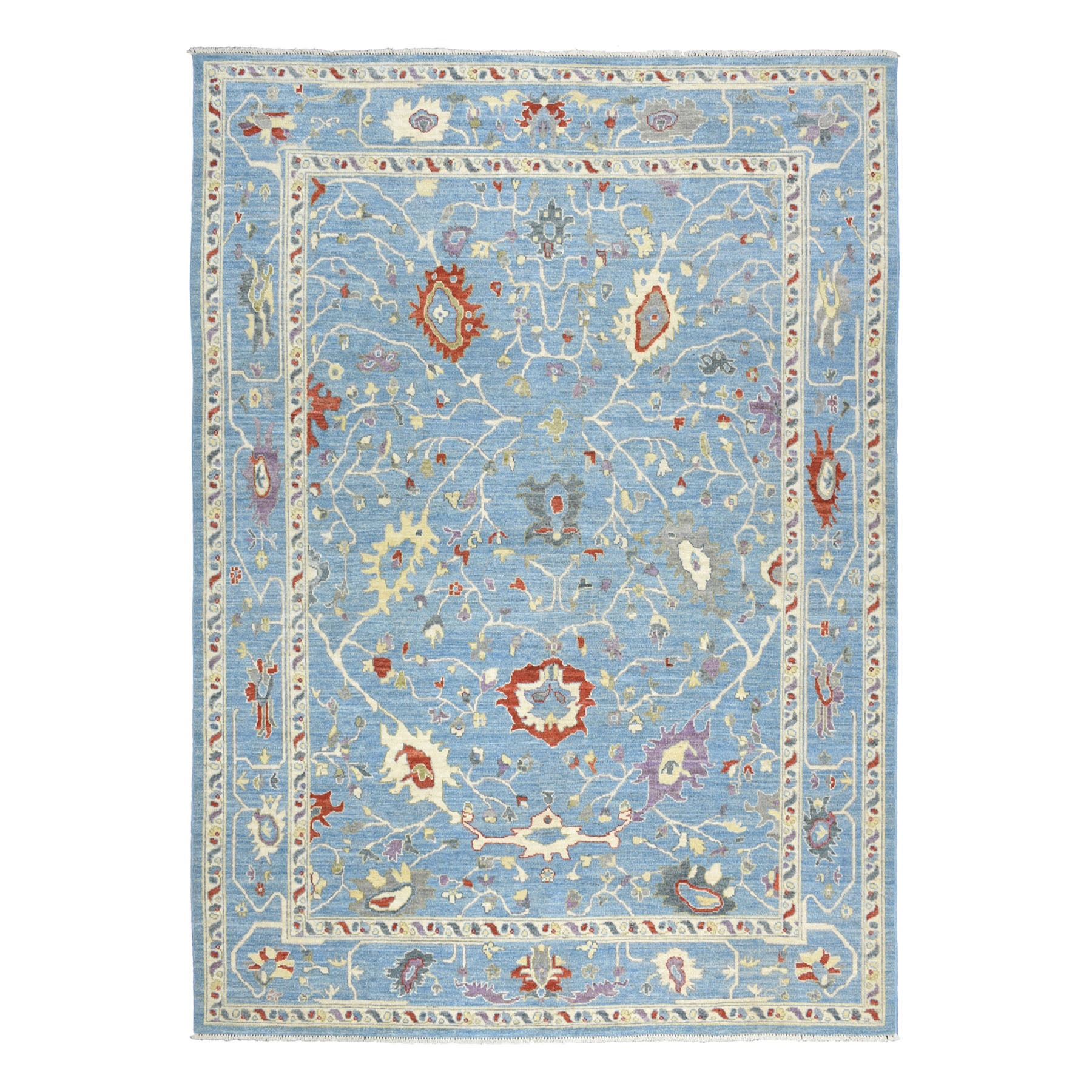 """8'10""""X11'8"""" Blue Angora Oushak Pure Wool Hand Knotted Oriental Rug moaebe89"""