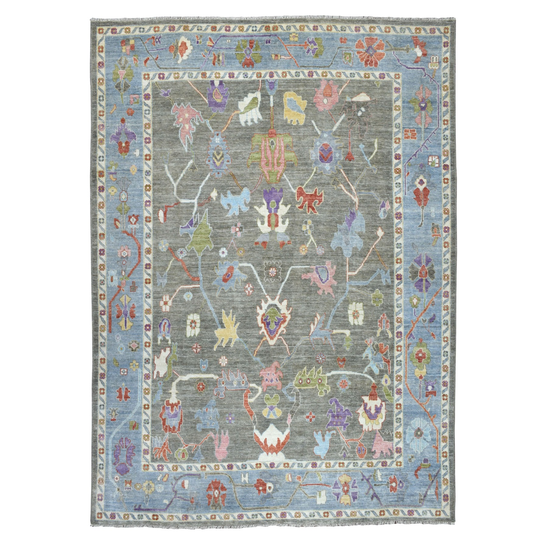 """9'1""""x11'8"""" Gray Angora Oushak Pure Wool Hand Knotted Oriental Rug 52590"""