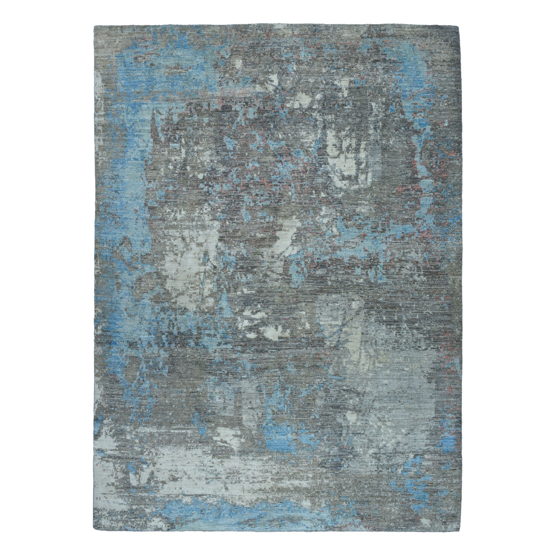 """9'X11'9"""" Gray Pure Wool Abstract Design Hand Knotted Oriental Rug moaebe9c"""
