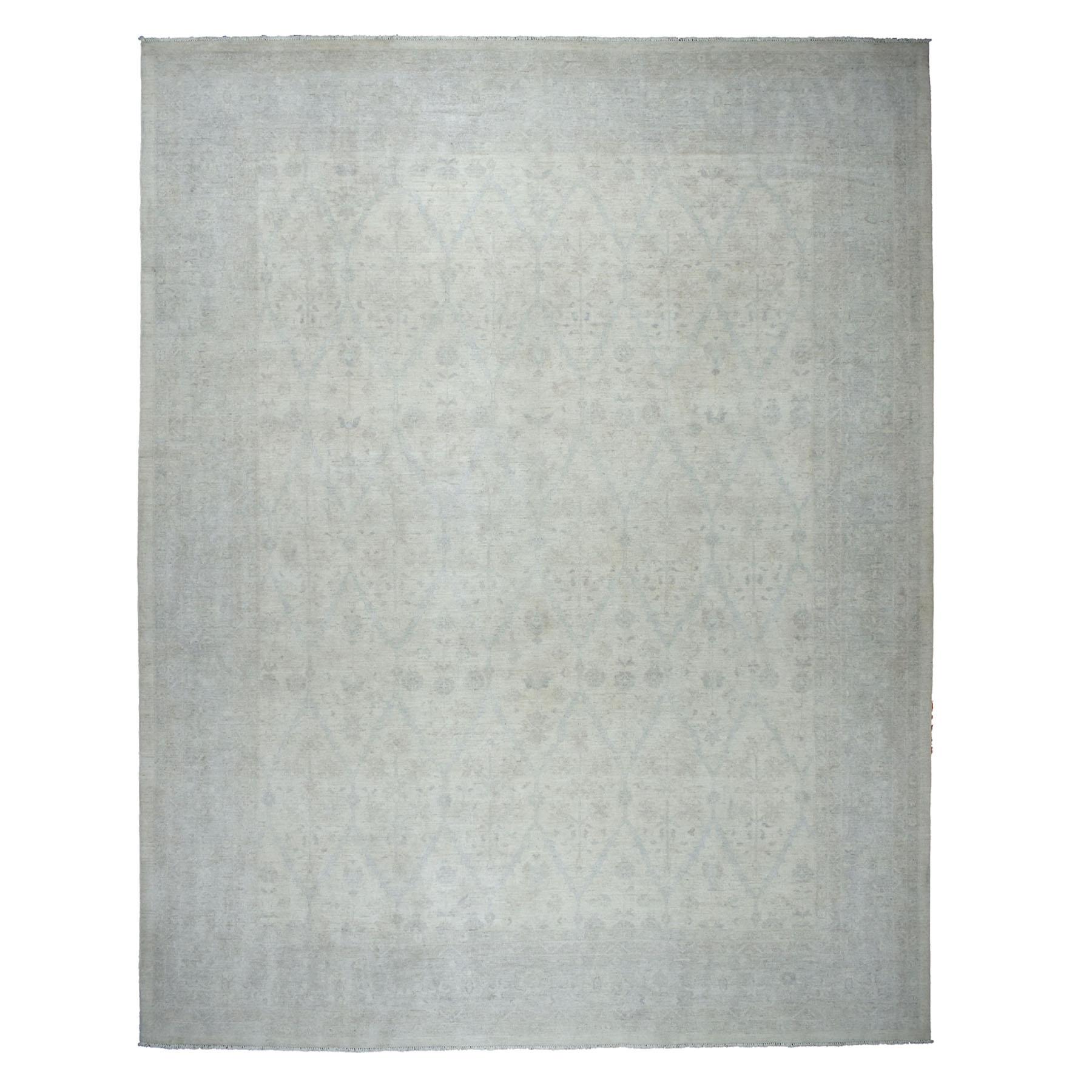 "11'7""X15' Oversized White Wash Peshawar Pure Wool Hand Knotted Oriental Rug moaebe9e"