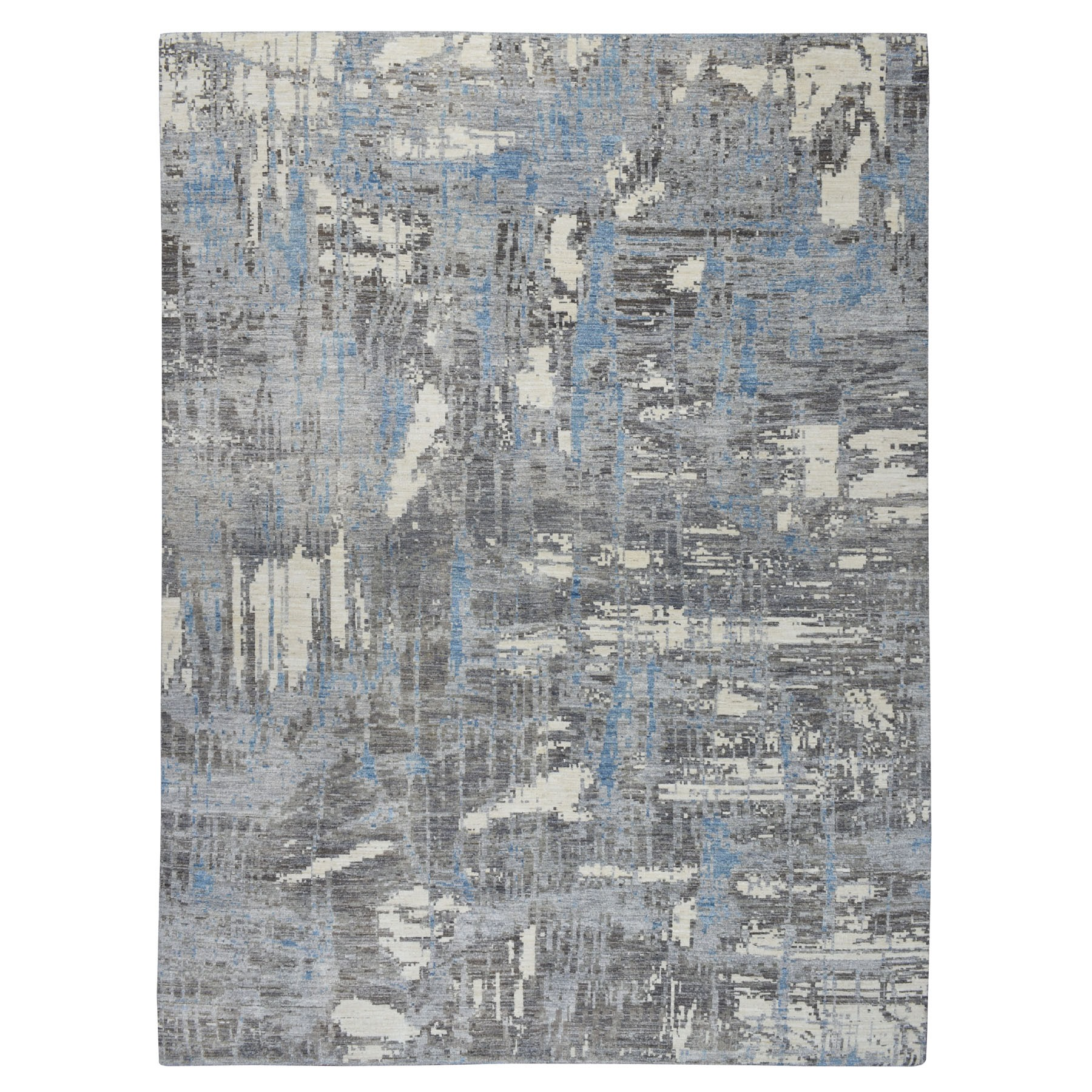 """9'1""""X12'1"""" Gray Pure Wool Abstract Design Hand Knotted Oriental Rug moaebe99"""