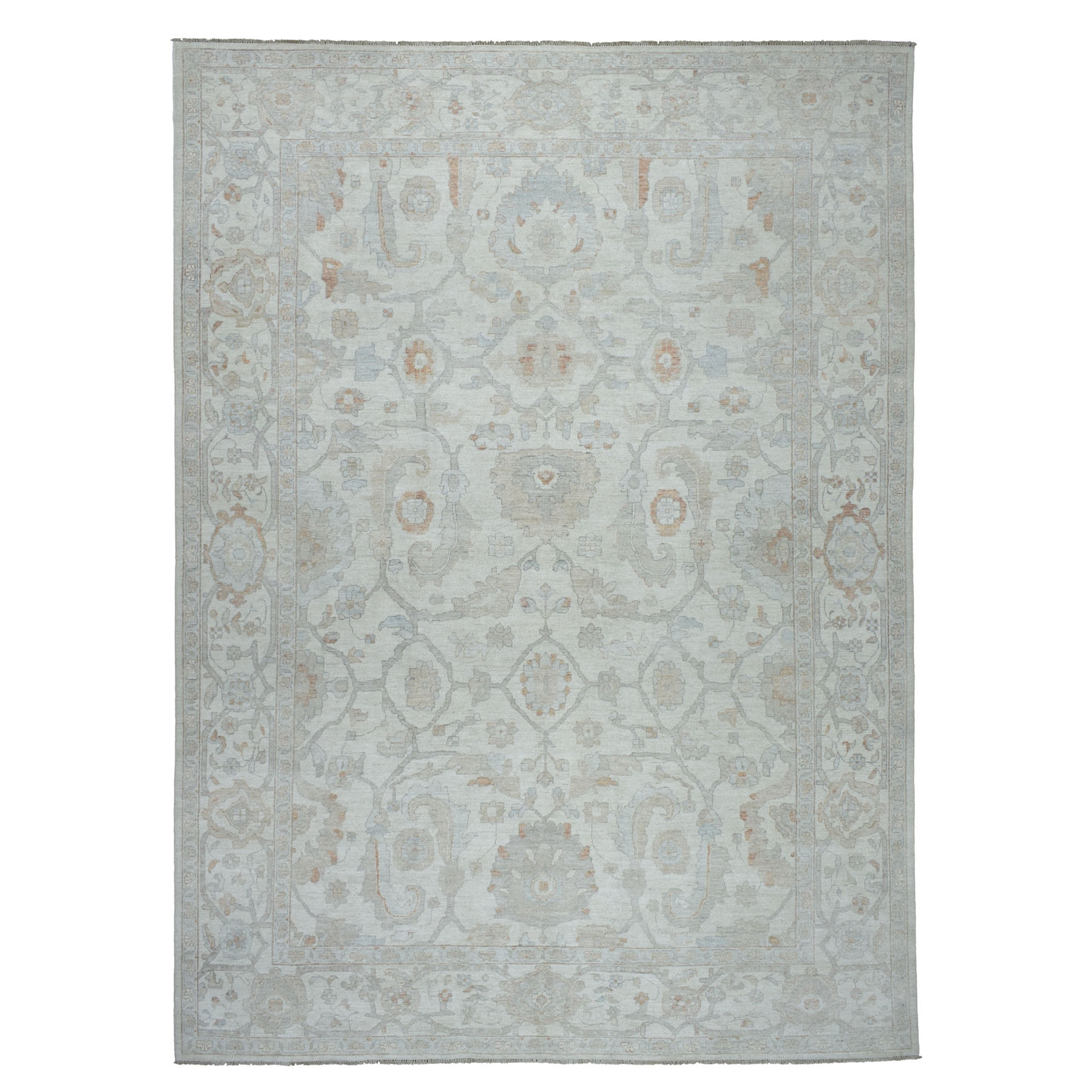 """10'X13'8"""" White Wash Peshawar Pure Wool Hand Knotted Oriental Rug moaeb60a"""