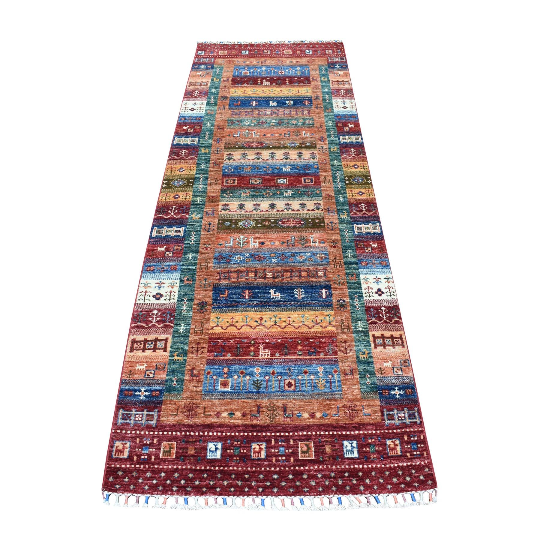 "2'9""X8'8"" Khorjin Design Colorful Runner Super Kazak Pure Wool Hand Knotted Oriental Rug moaeb606"