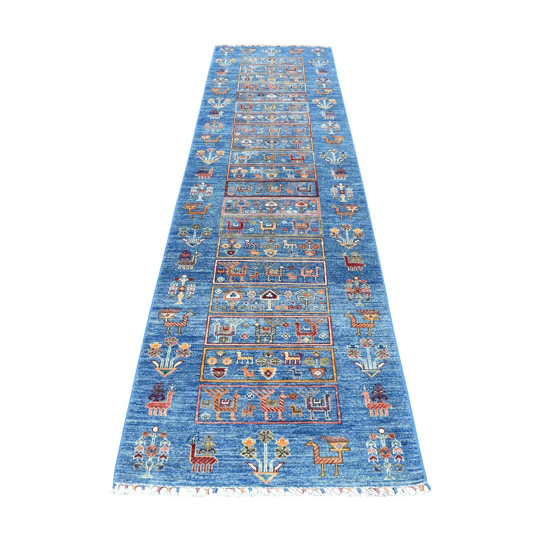 "2'9""X11' Khorjin Design Blue Super Kazak Pure Wool Runner Hand Knotted Oriental Rug moaeb607"