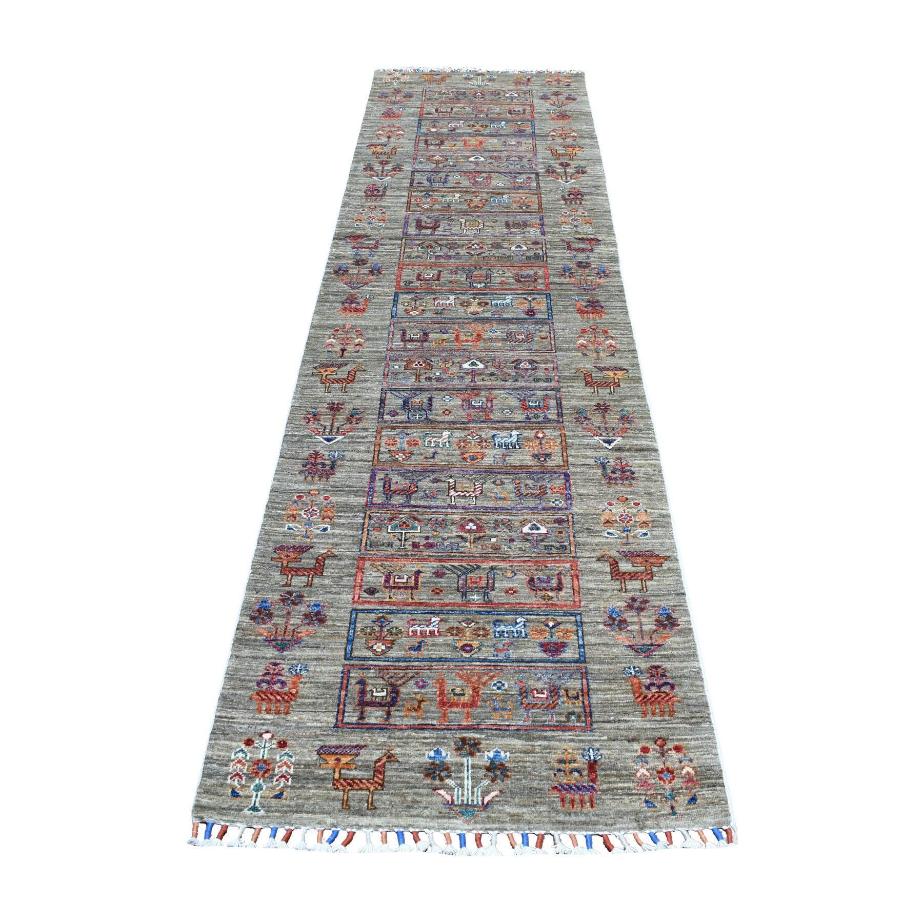 "2'8""X10' Gray Kashkuli Design Super Kazak Pure Wool Runner Hand Knotted Oriental Rug moaeb608"