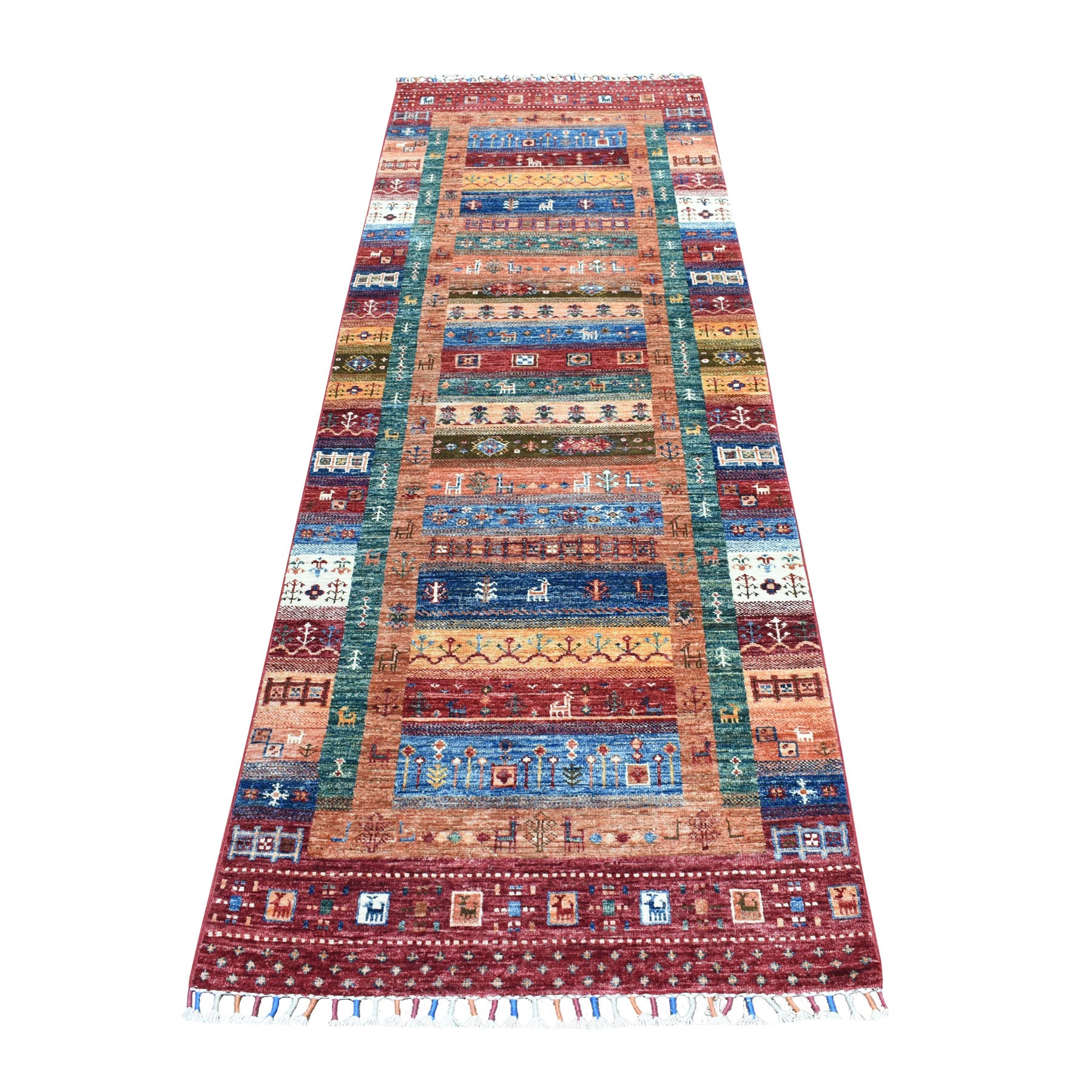 "2'9""X8'8"" Colorful Kashkuli Design Runner Super Kazak Pure Wool Hand Knotted Oriental Rug moaeb609"