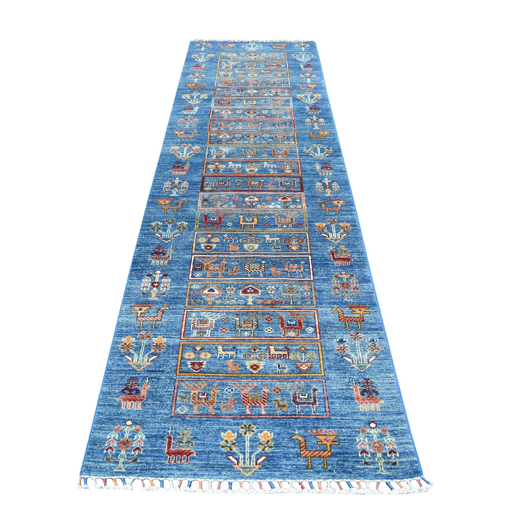 "2'9""X11' Blue Kashkuli Design Super Kazak Pure Wool Runner Hand Knotted Oriental Rug moaeb6a0"